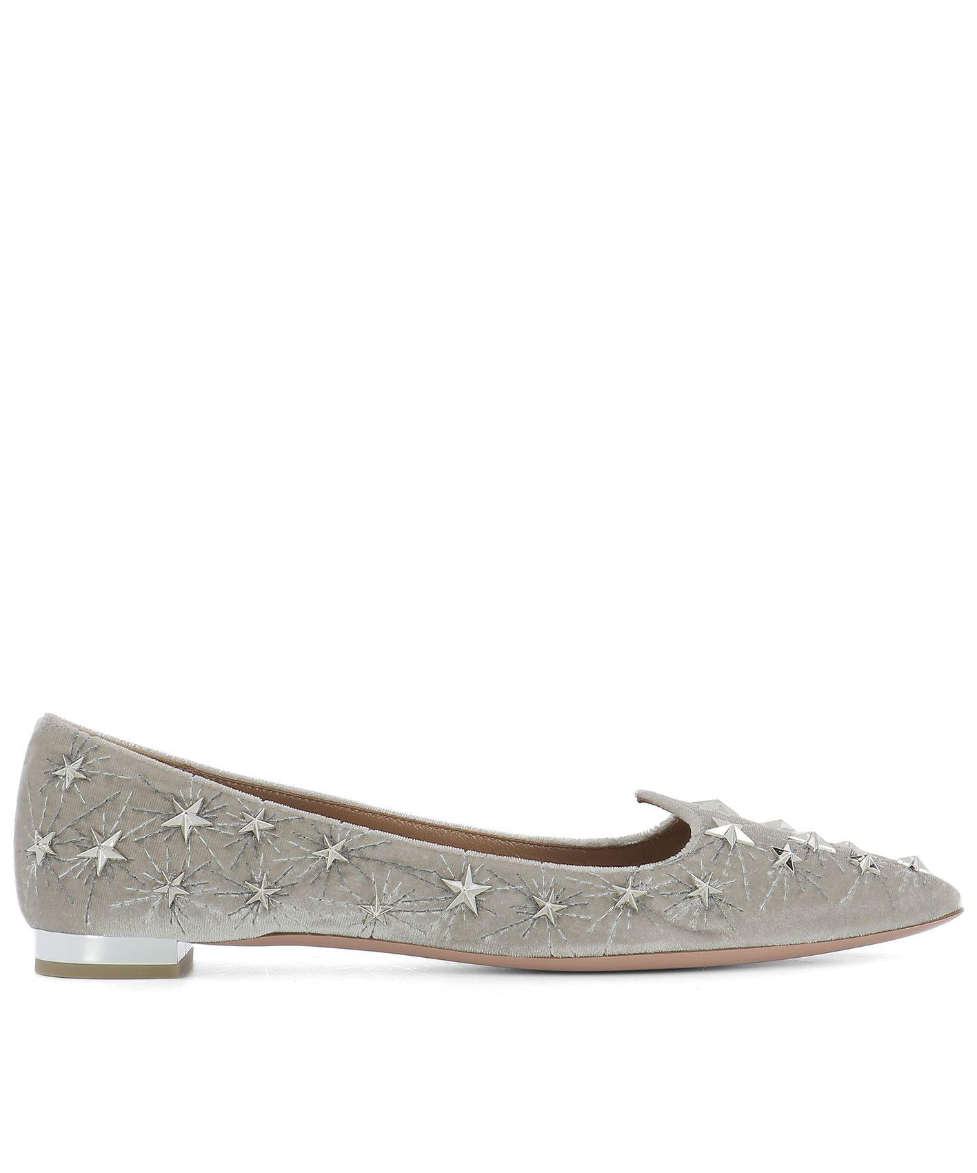 Grey Velvet Ballet Flats