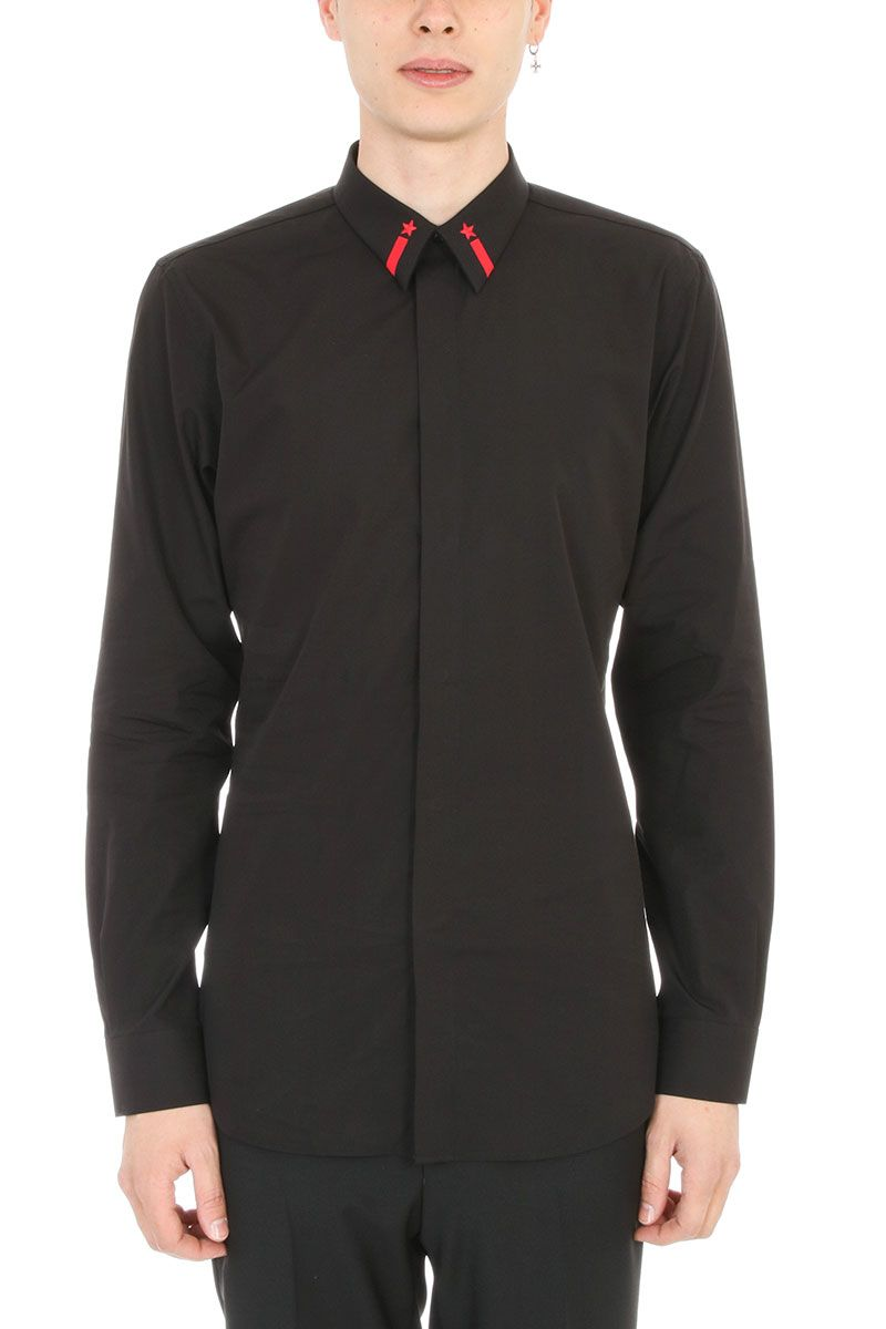 Givenchy Star Embroidered Black Cotton Shirt