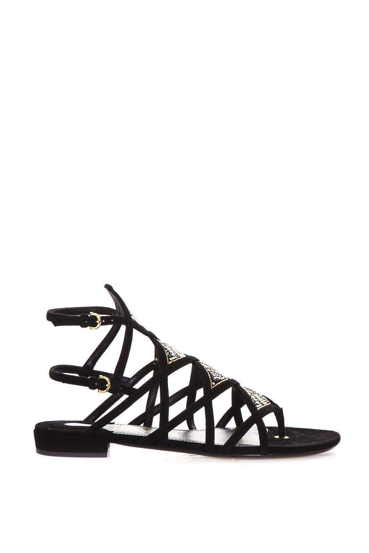 Salvatore Ferragamo Essie Embellished Suede Sandals