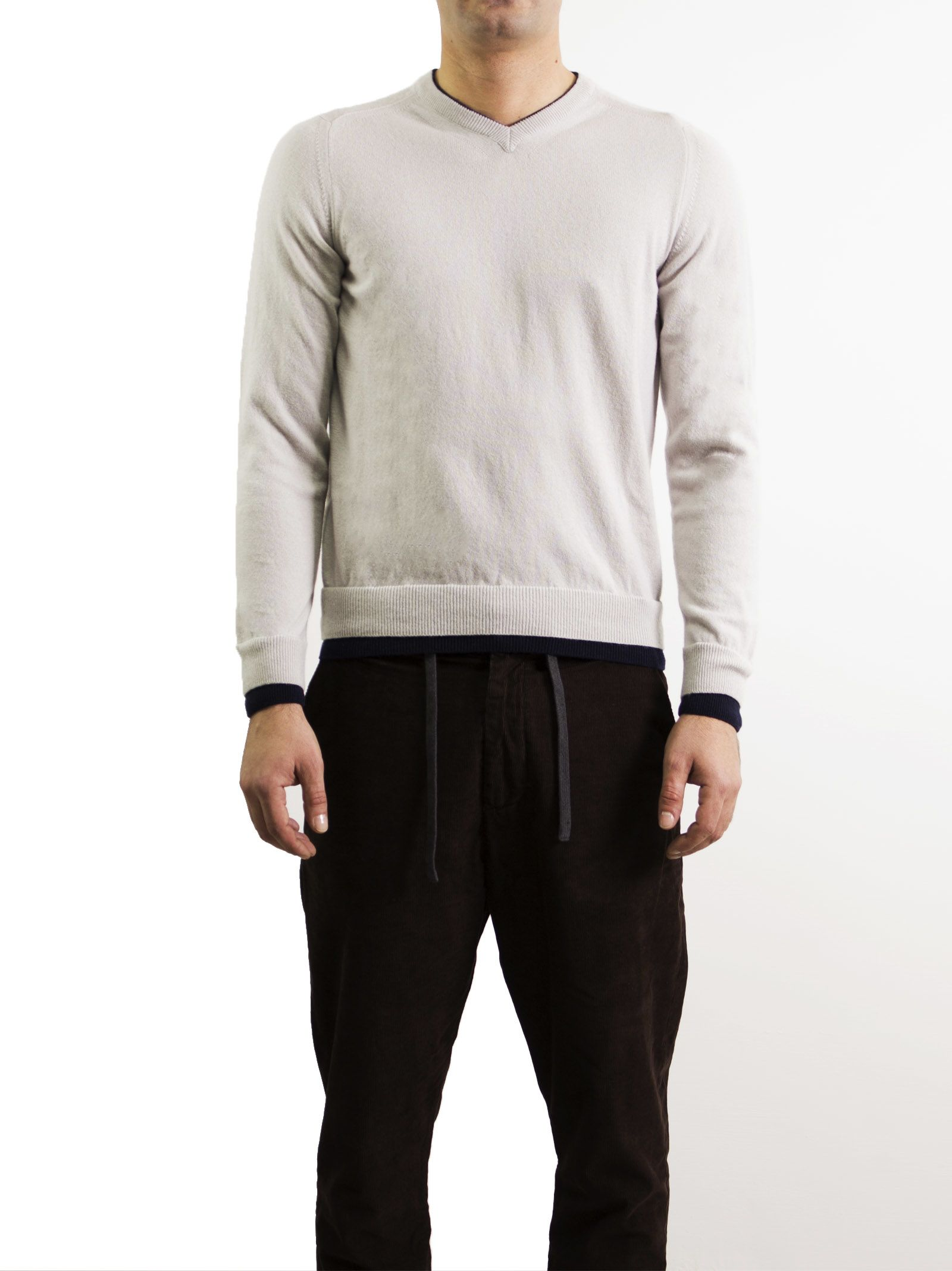Cashmere Collection V-Neck Elbow Patch Sweater