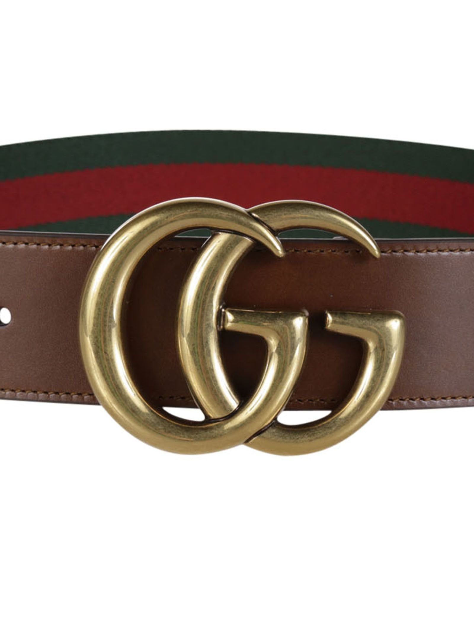gucci gucci web belt with double g buckle greenred