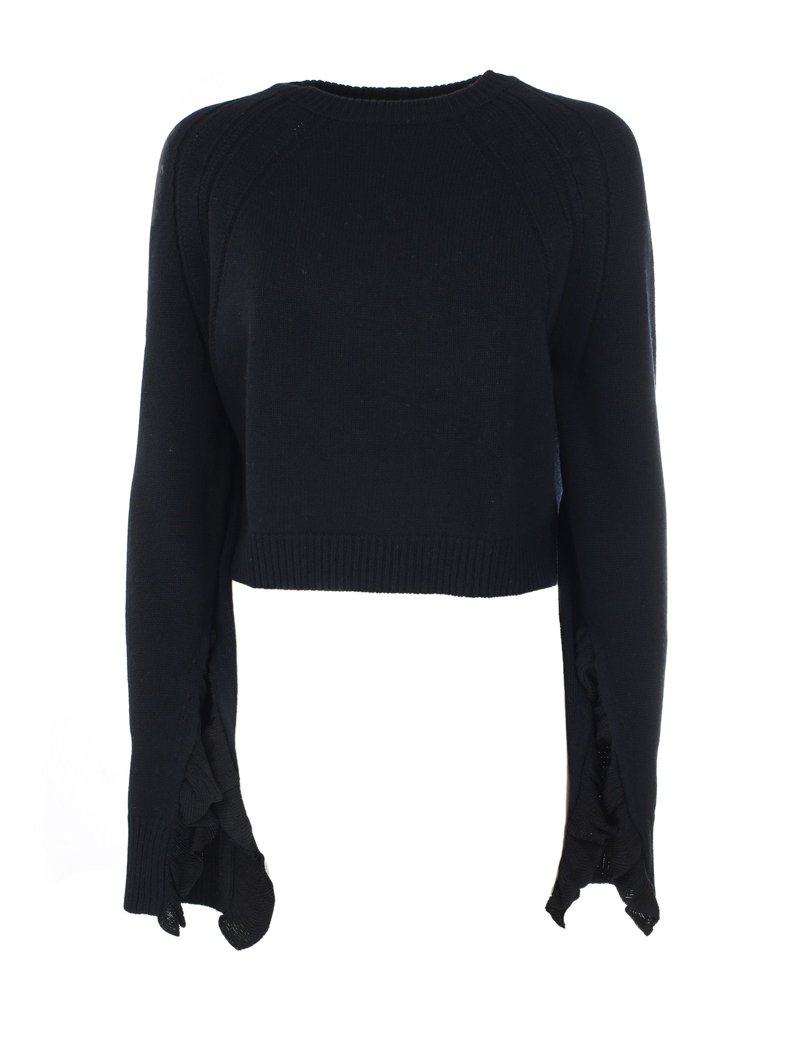 Helmut Lang Cropped Ruffled Sweater
