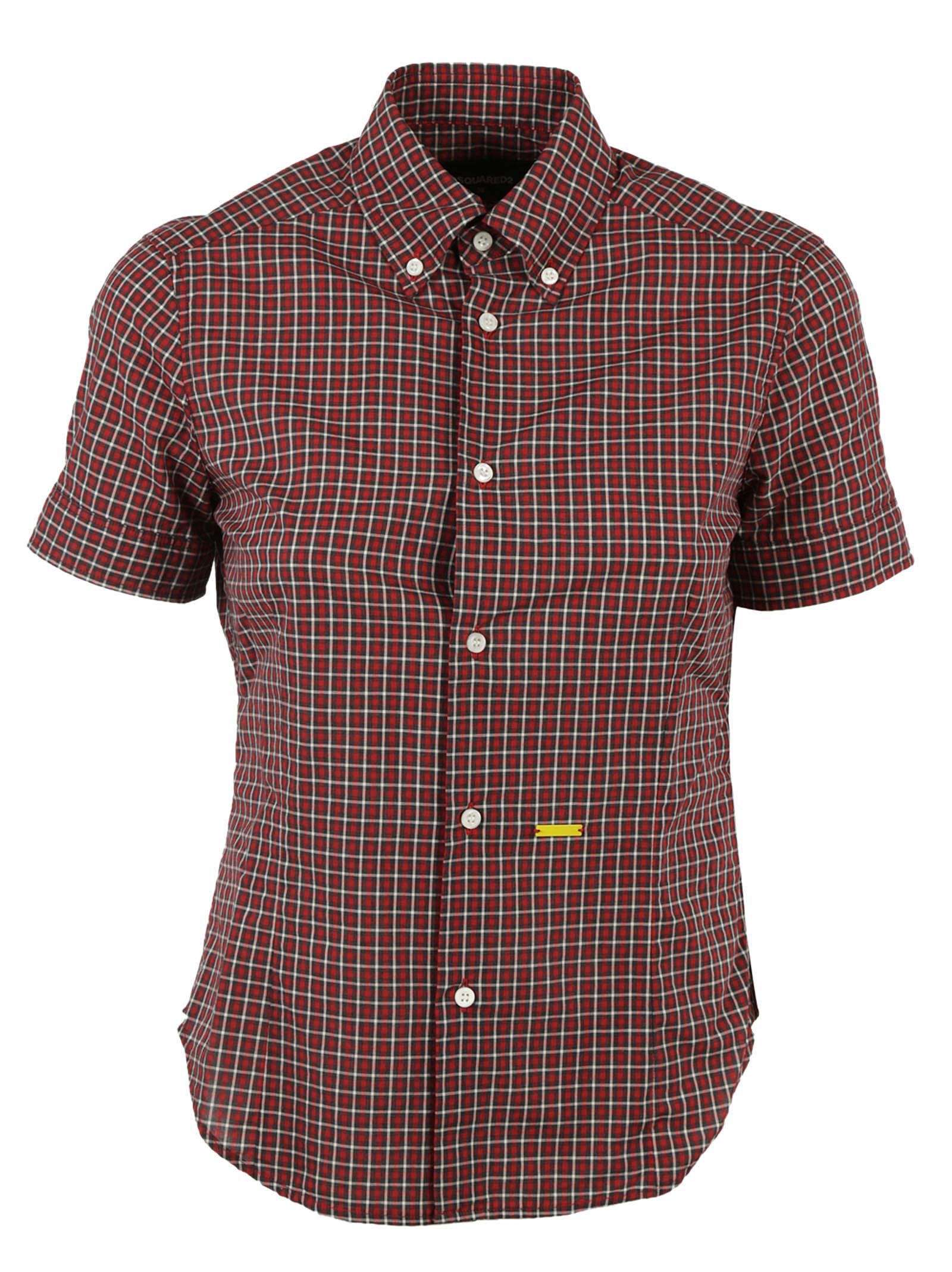Dsquared2 dsquared2 short sleeve plaid shirt red Short sleeve plaid shirts