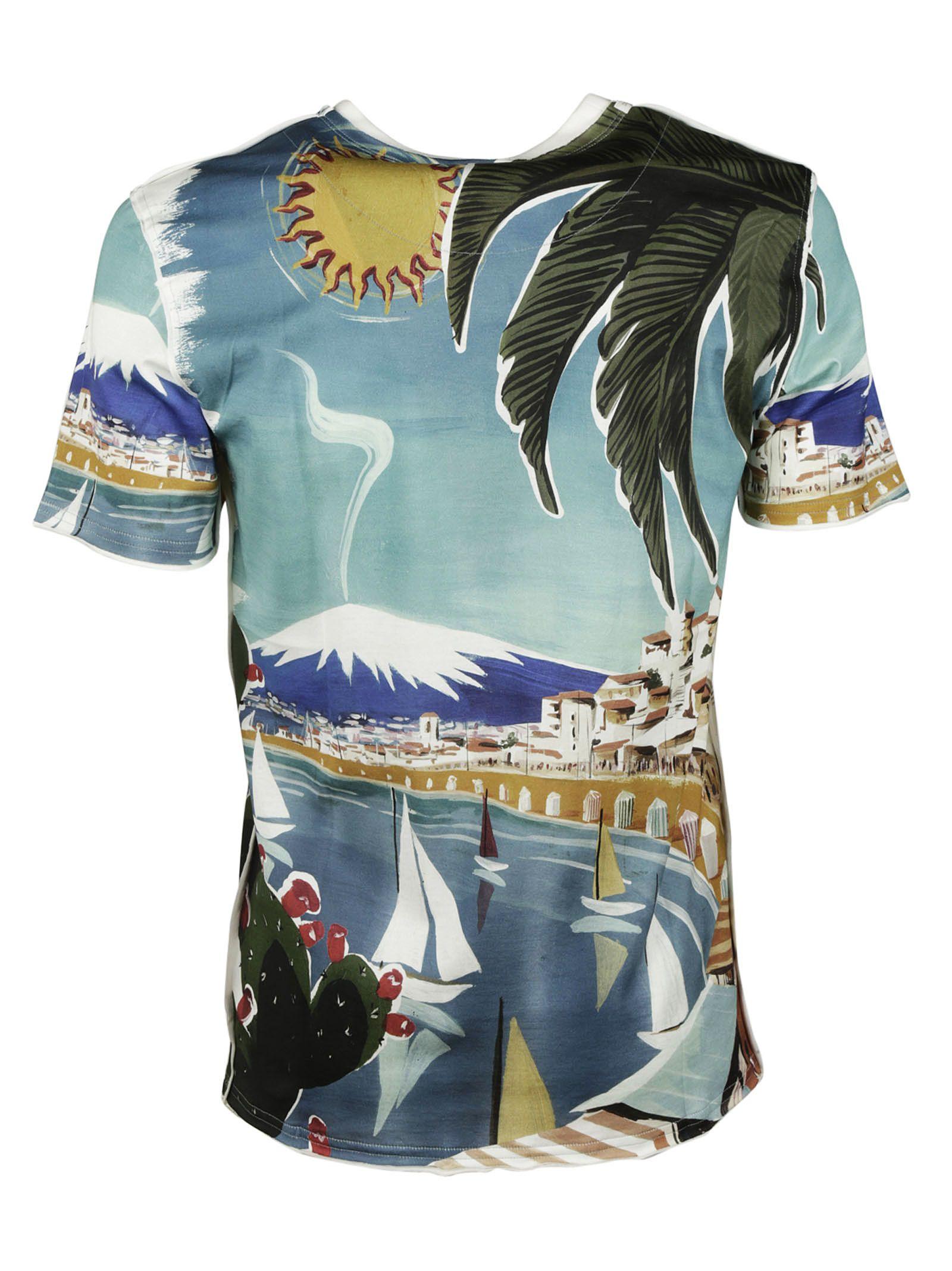 dolce gabbana dolce gabbana catania print t shirt multicolor men 39 s short sleeve t. Black Bedroom Furniture Sets. Home Design Ideas