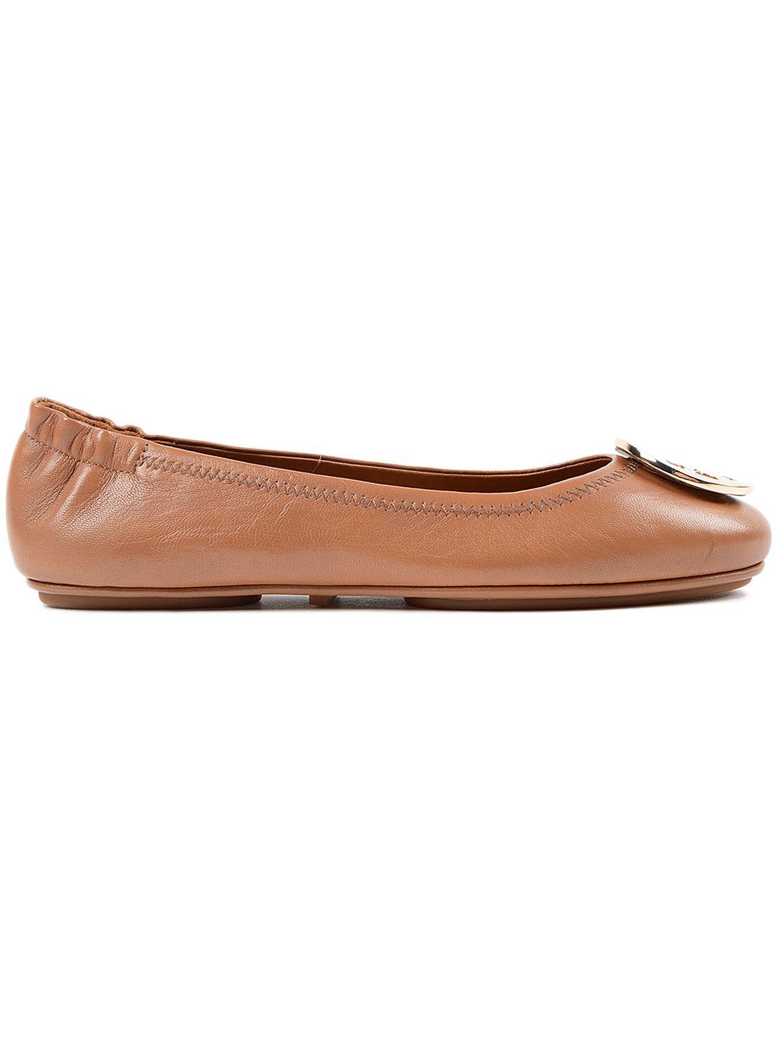 tory burch tory burch minnie ballerinas brown women 39 s flat shoes italist. Black Bedroom Furniture Sets. Home Design Ideas