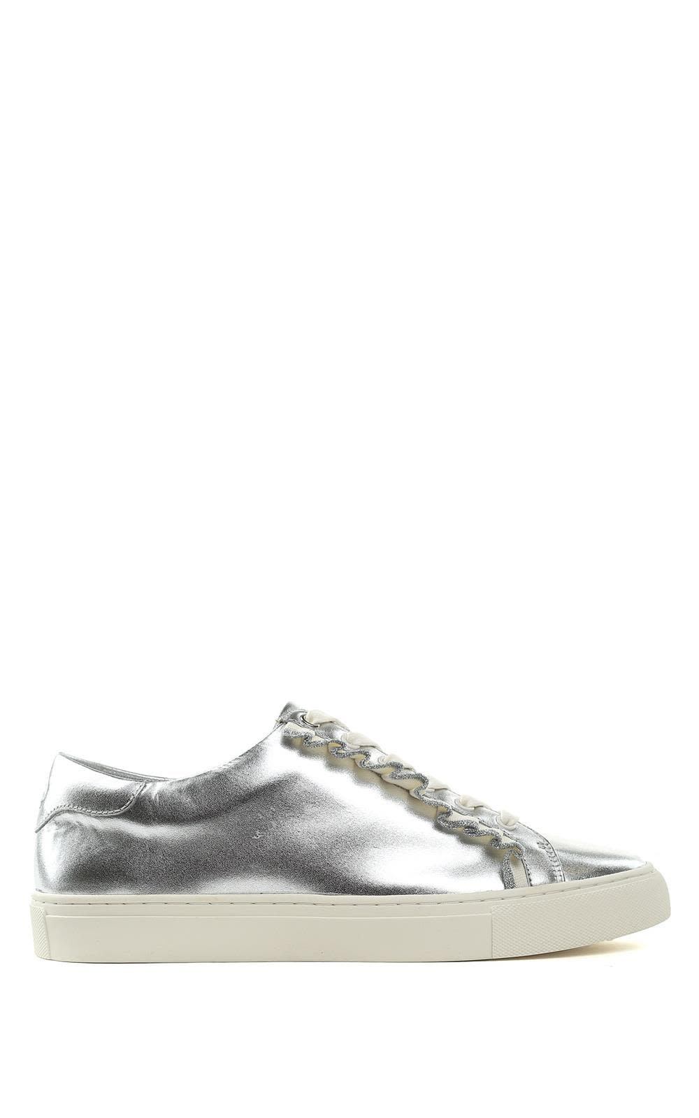 Tory Burch Tory Sport Ruffle-trim Laminated-leather Sneakers