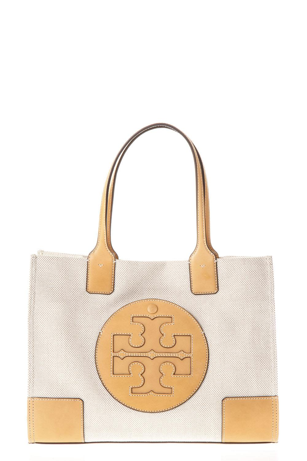 Tory Burch Ella Natural Canvas & Leather Tote