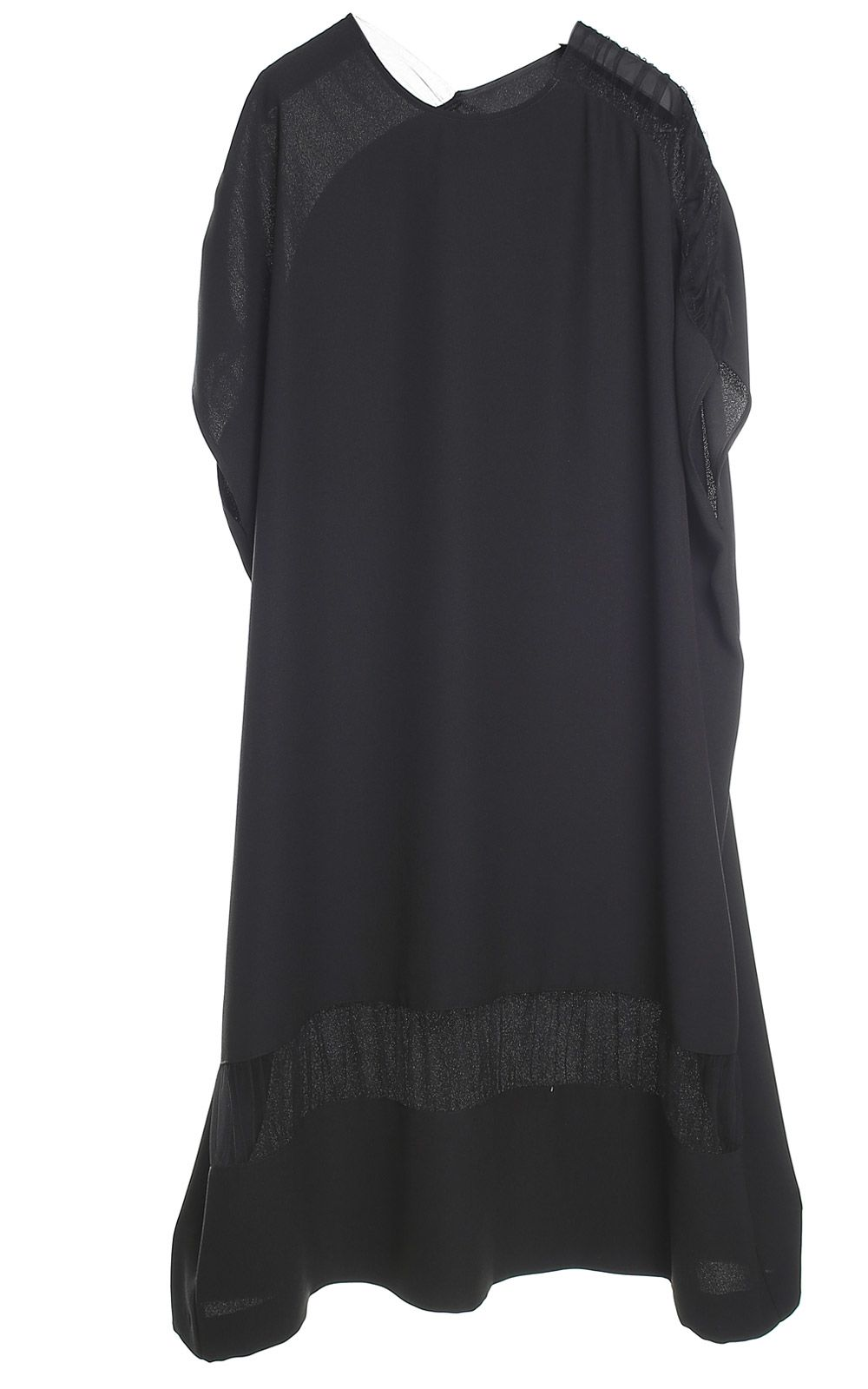 Maison Margiela Draped Tulle-inserts Crepe Tunic Dress