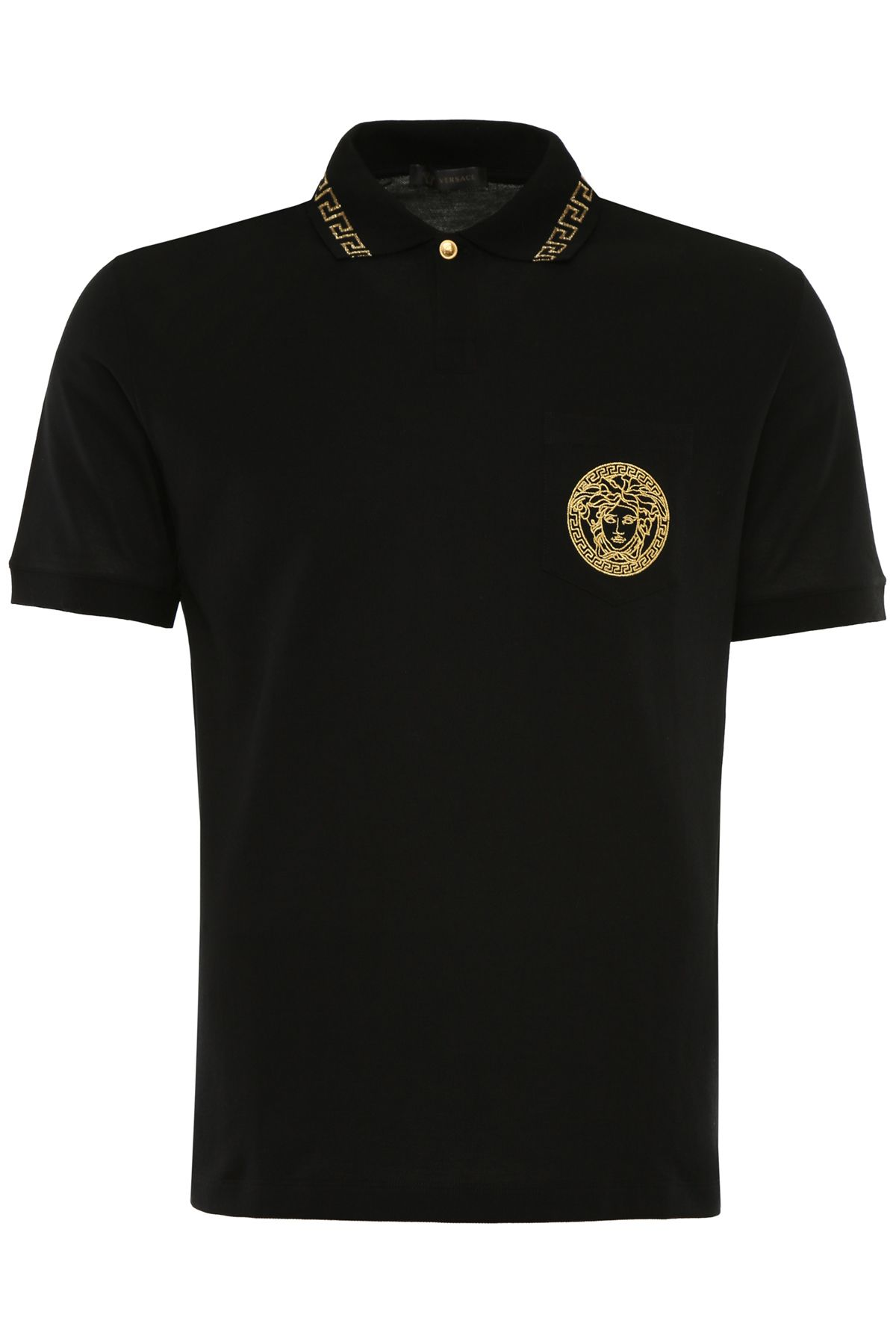 Versace embroidered polo shirt nero oro nero men 39 s for Polo shirts with embroidery