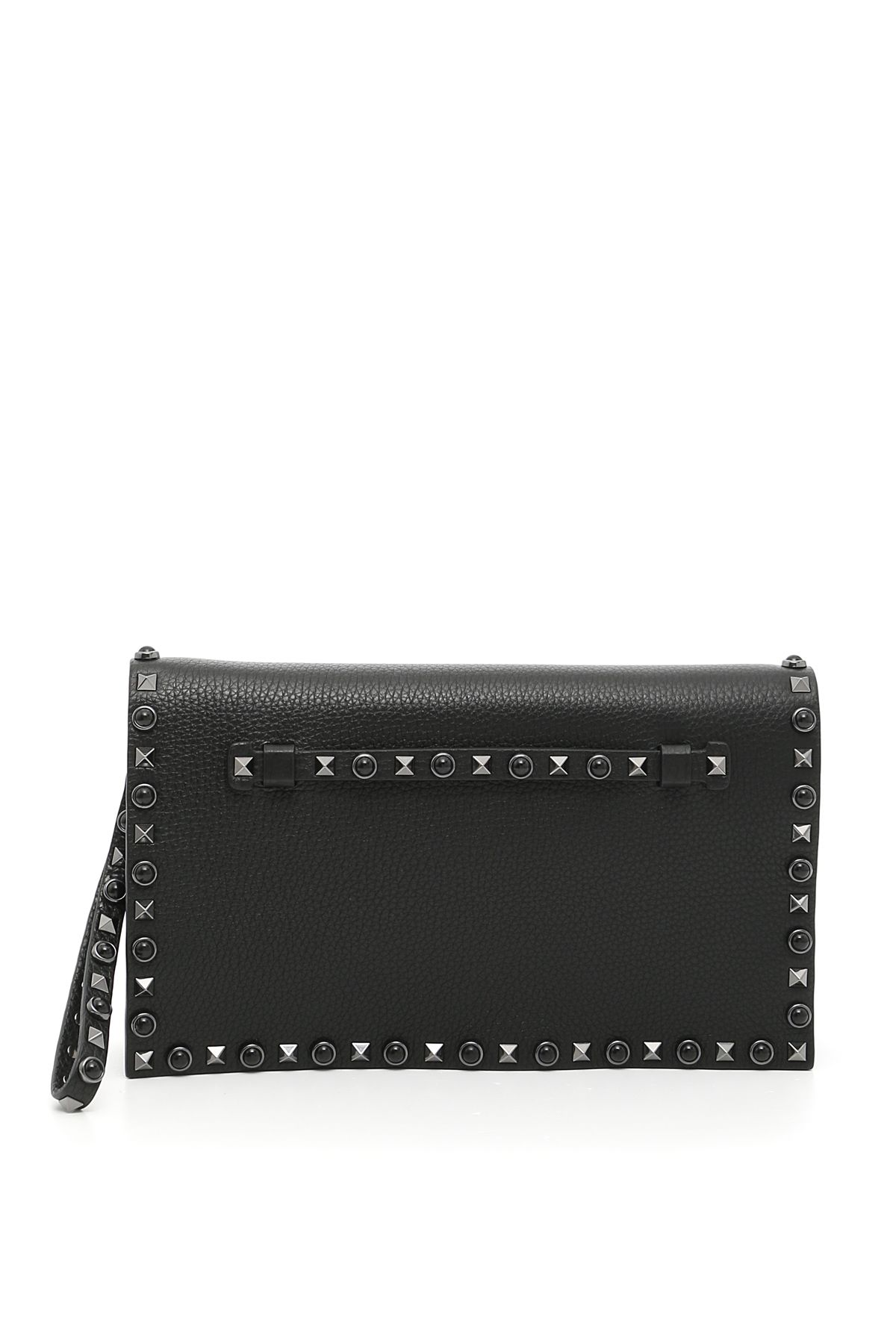 Grain Leather Rockstud Rolling Clutch
