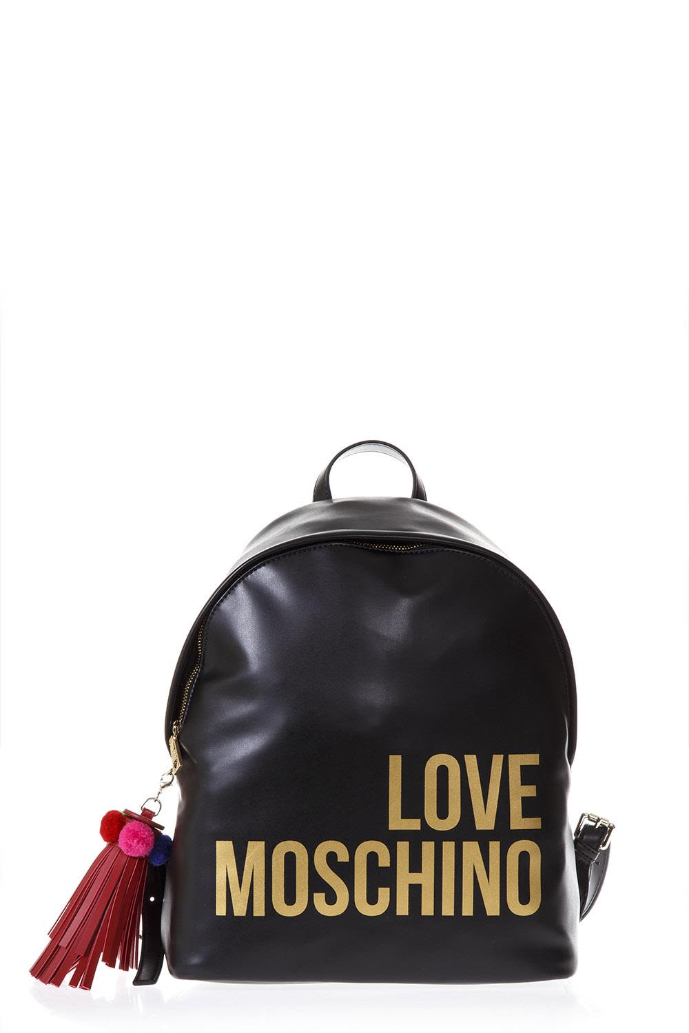 Love Moschino Black Faux Leather Backpack With Logo
