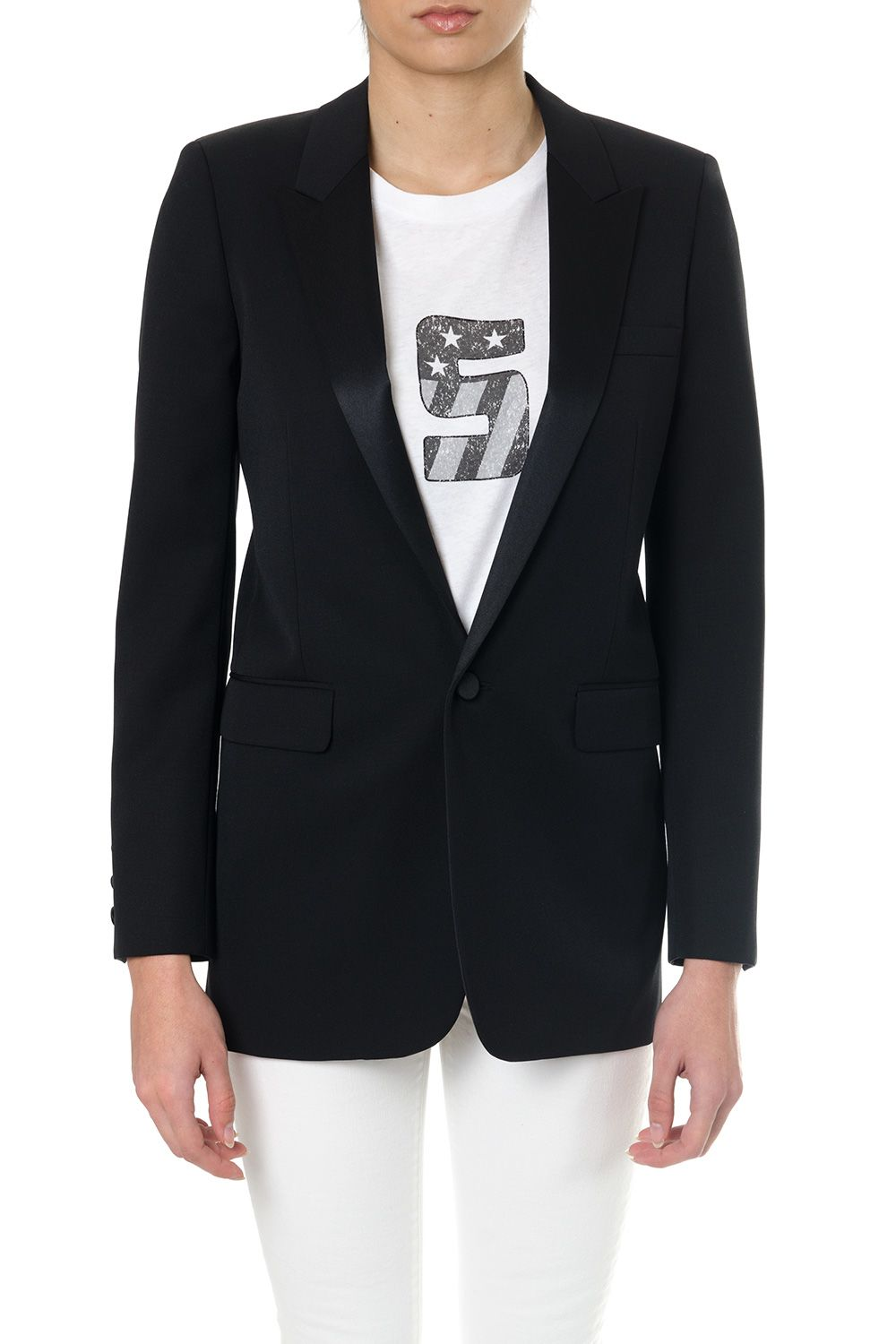 Saint Laurent Black Virgin Wool Tuxedo Jacket