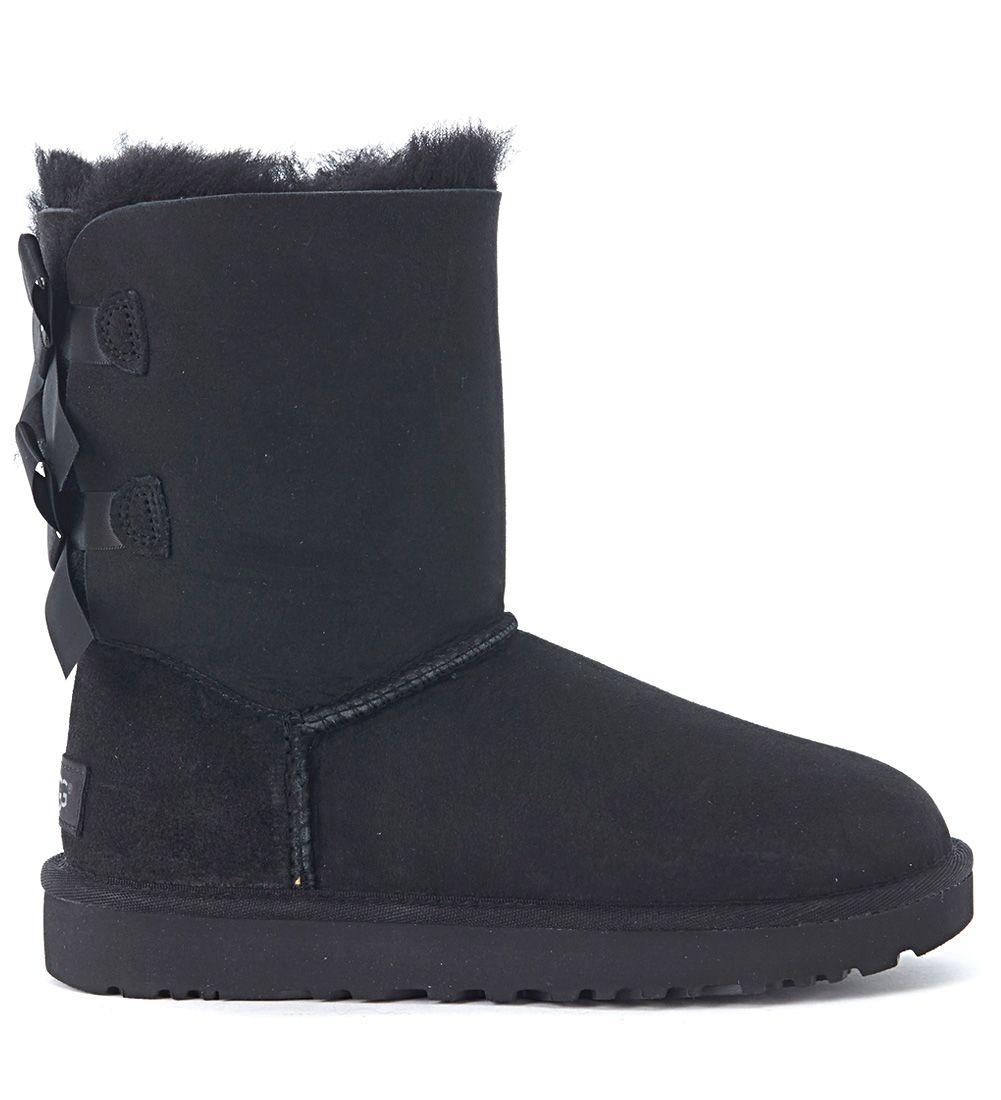 Ugg Bailey Black Leather Ankle Boots With Bows