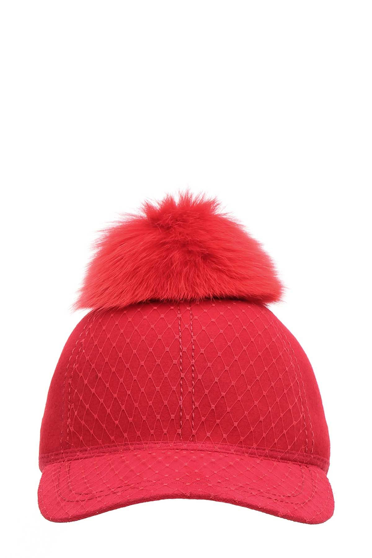 house of lafayette female house of lafayette wool cap with fur pom pom