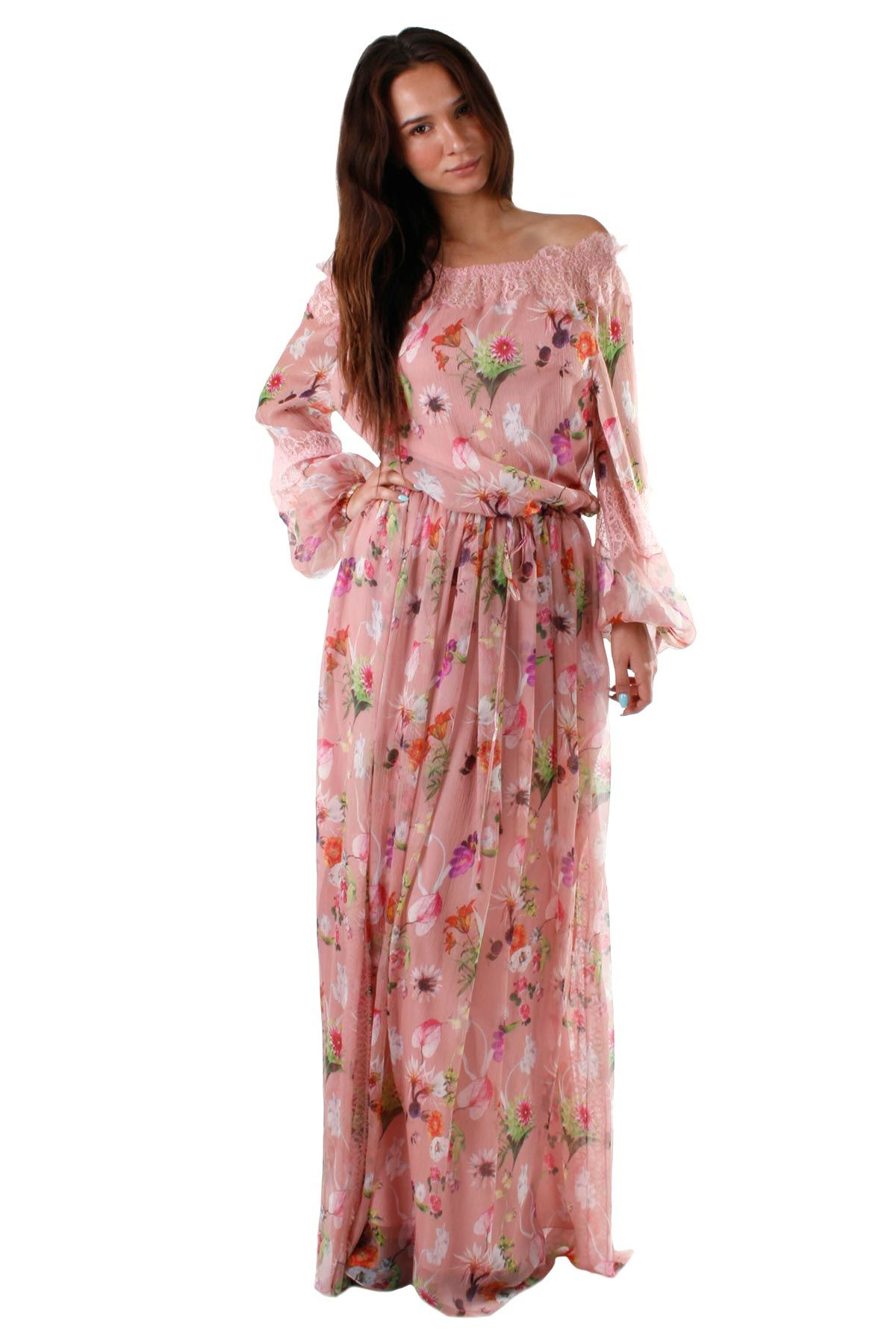Blumarine Old Rose Floral Kaftano Dress