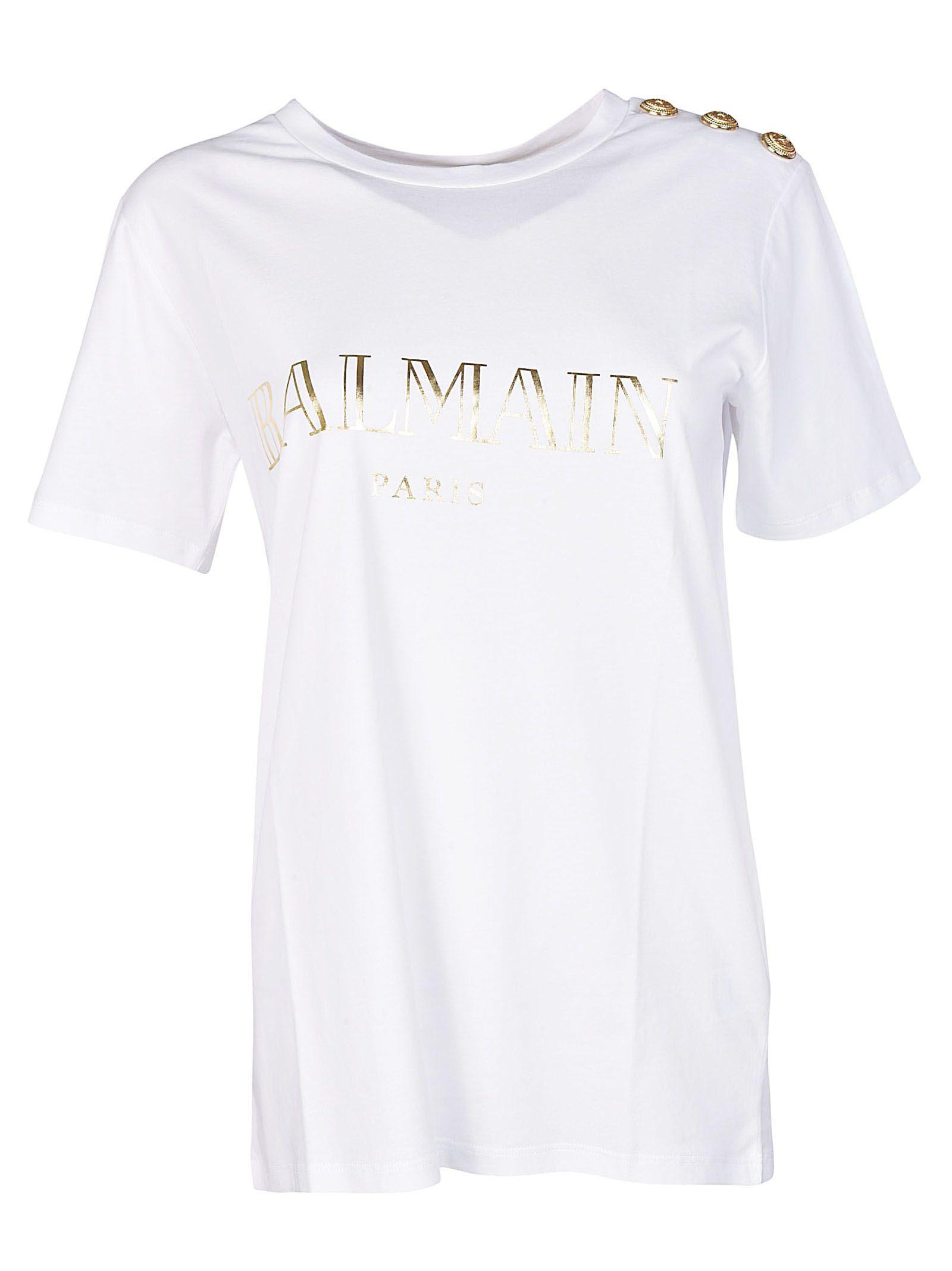 Balmain logo printed cotton jersey t shirt in white modesens for Balmain white logo t shirt