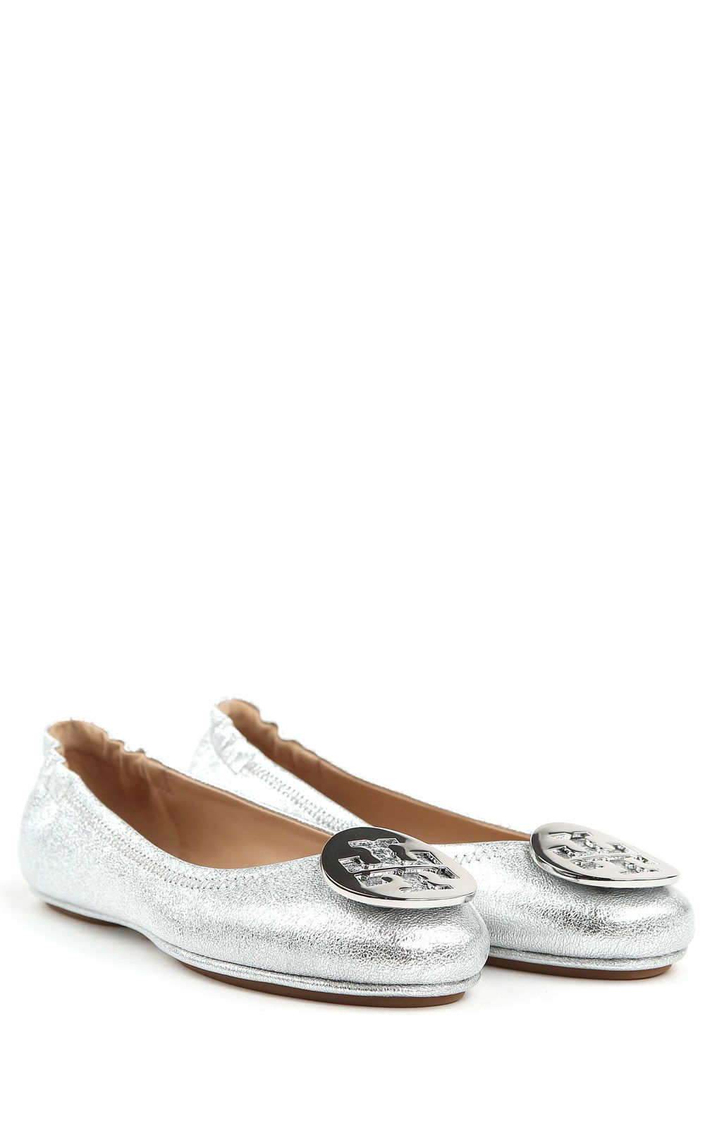 tory burch tory burch minnie travel metallic leather ballet flats silver women 39 s flat shoes. Black Bedroom Furniture Sets. Home Design Ideas