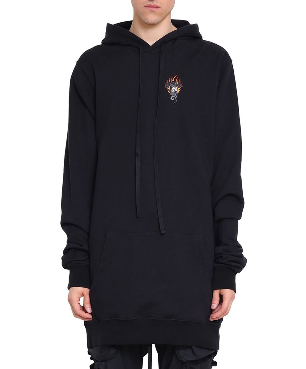 Ben Taverniti Unravel Project Snake Distorted Oversized Cotton Hoodie