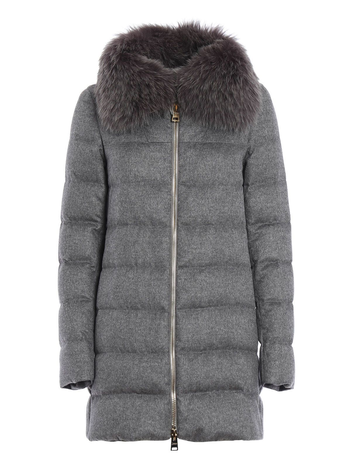 Black Canada Goose fur-trimmed hooded down coat with four pockets and zip featuring Velcro closures at front. Unfortunately, due to restrictions, this item cannot be shipped internationally.