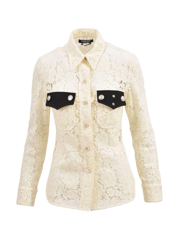 Calvin Klein Creamy-white Lace Shirt