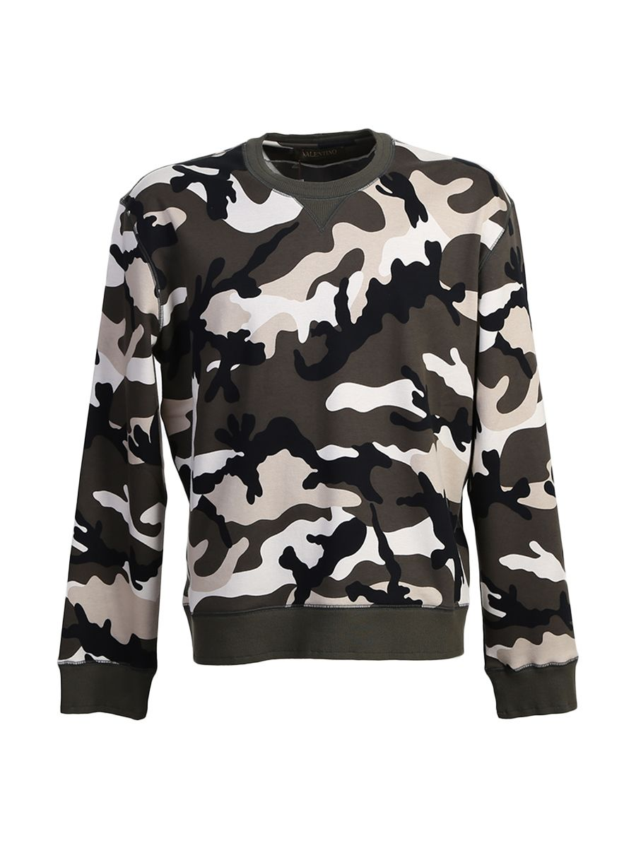 Studded Camouflage Cotton Sweater