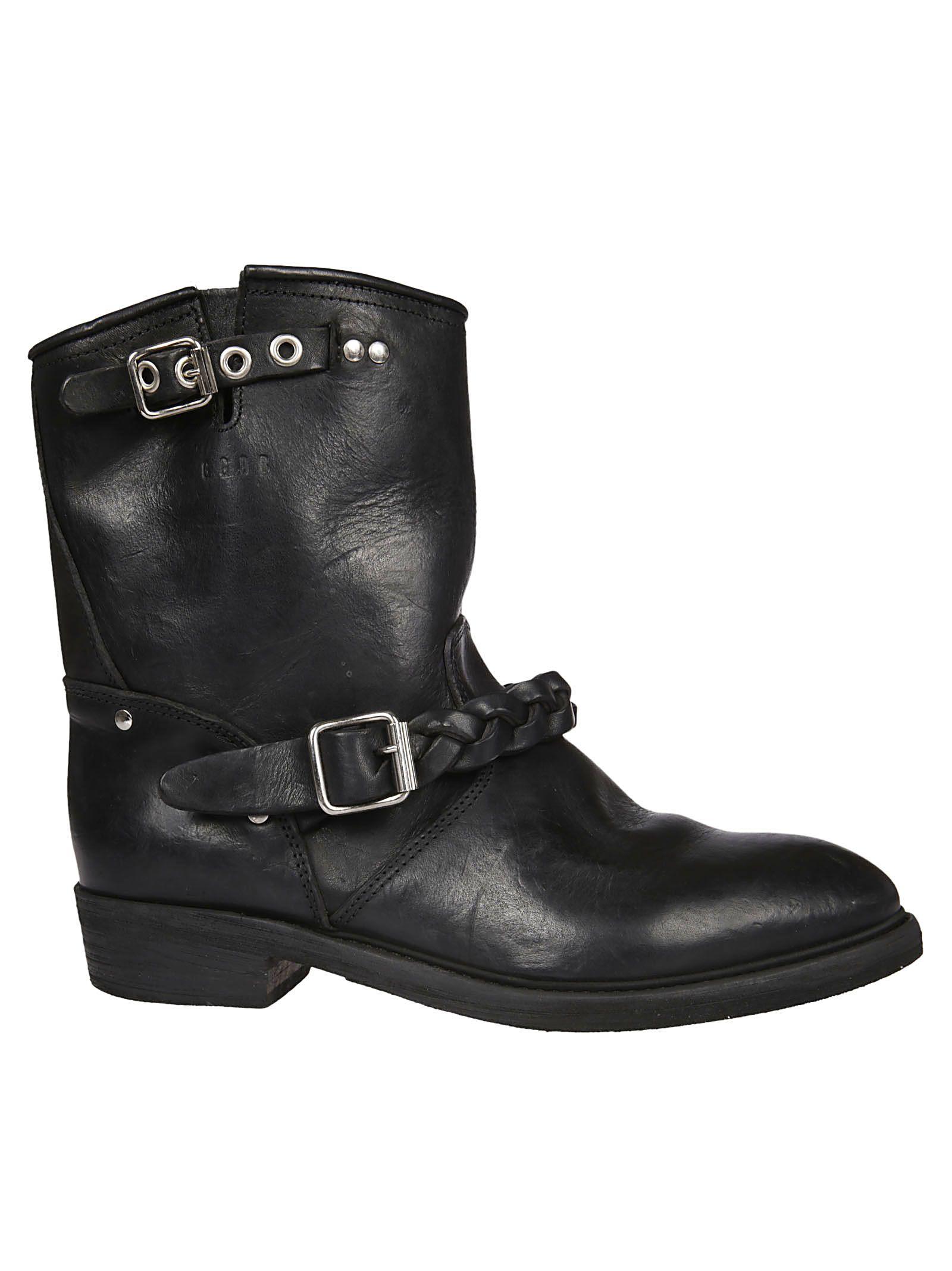 golden goose golden goose braided strap biker boots black women 39 s boots italist. Black Bedroom Furniture Sets. Home Design Ideas