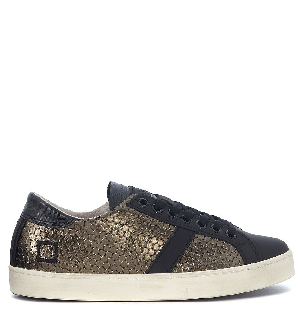 Sneaker D.a.t.e. Hill Low Pong Army In Pelle Verde Militare A Nido Dape