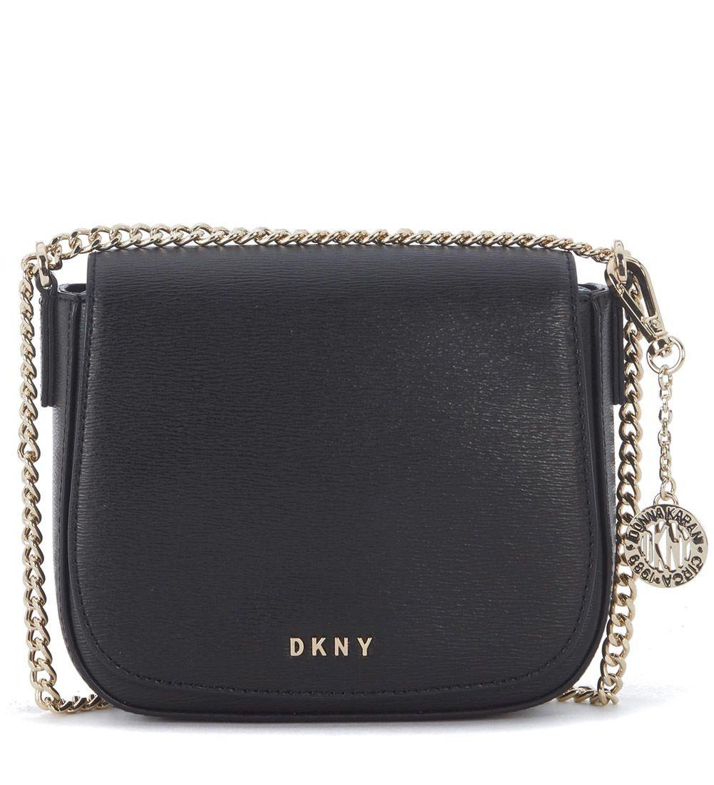 Dkny  DKNY SMALL BLACK SAFFIANO LEATHER SHOULDER BAG