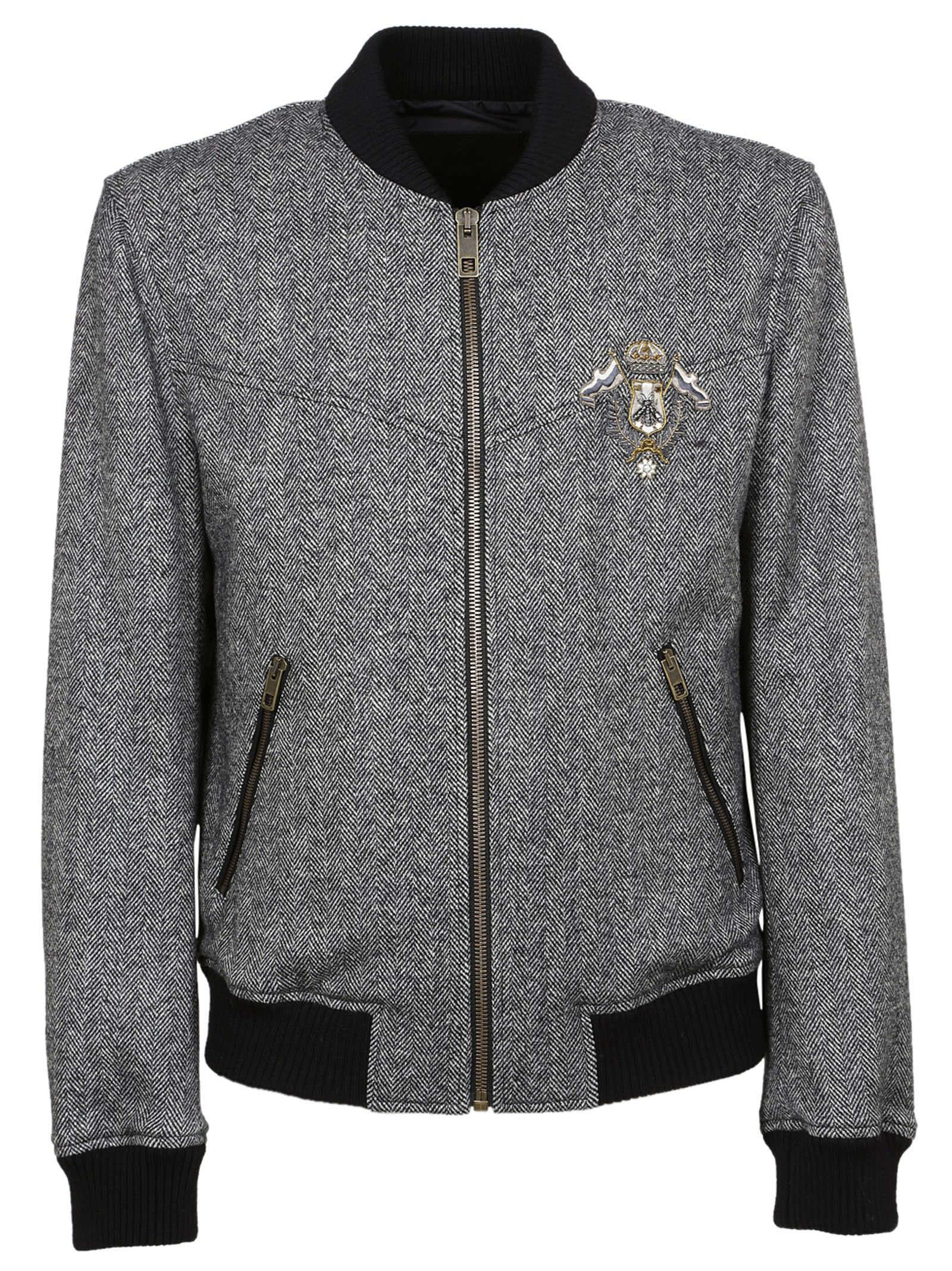 Dolce & Gabbana Patch Applique Tweed Bomber