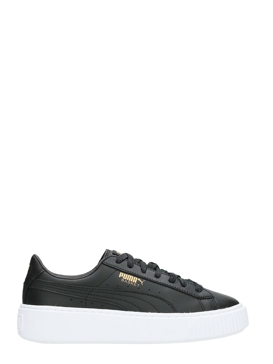 Puma Basket Platform Black Leather Sneakers
