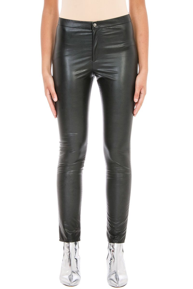Isabel Marant Etoile Jeffery Black Faux Leather Trousers
