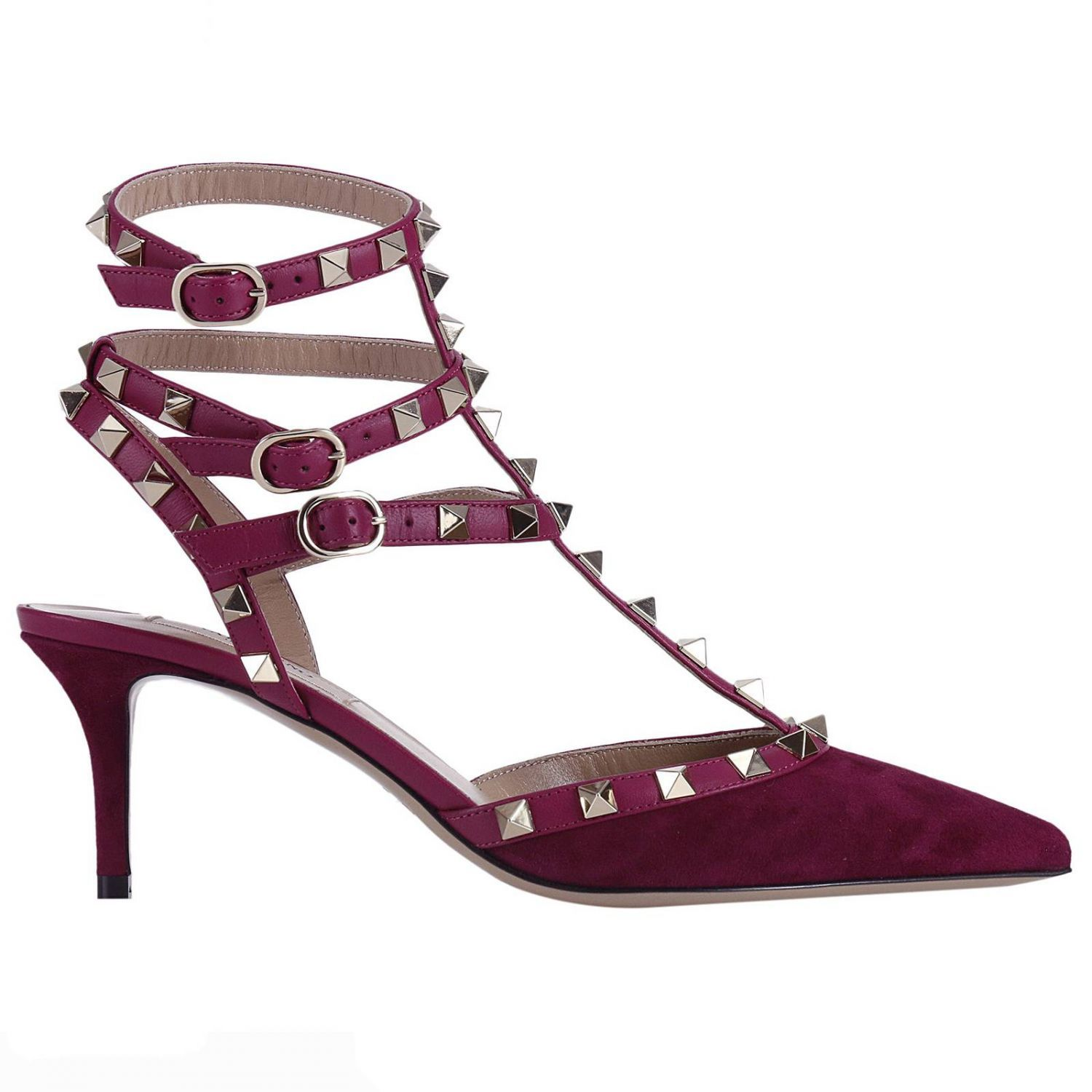 Pumps Rockstud Ankle Strap In Suede With Mini Heel And Metal Studs