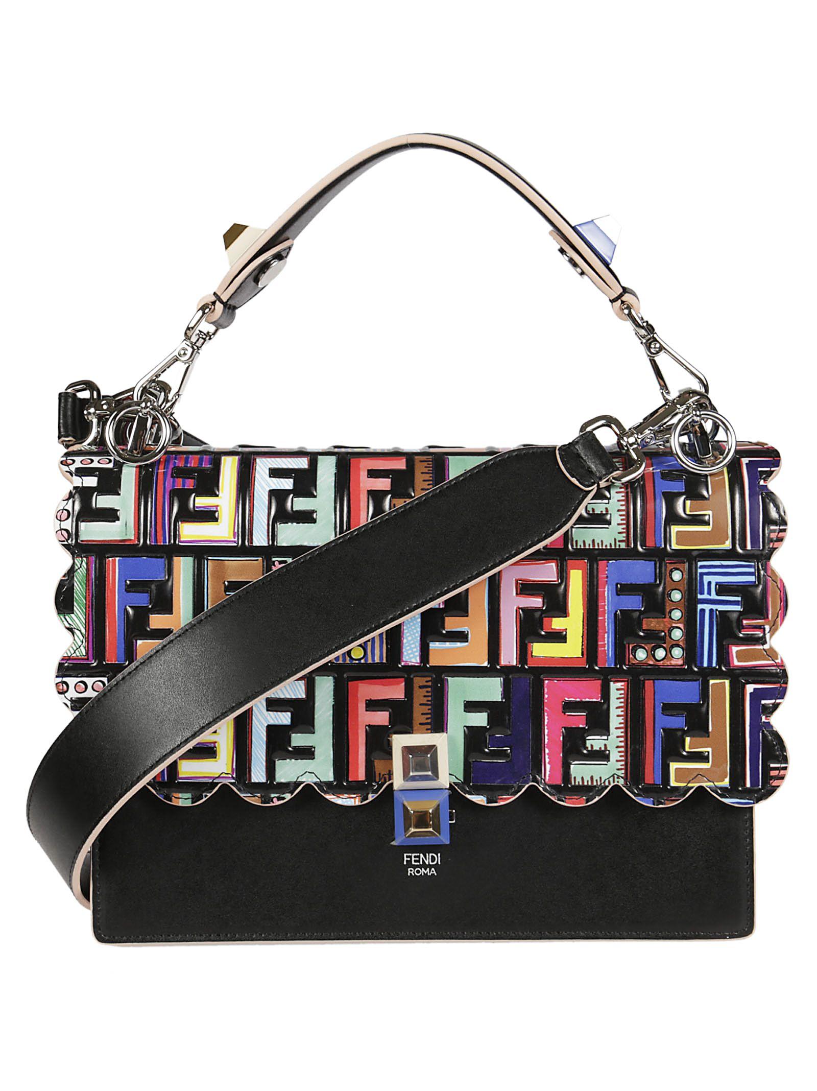 03a4a4c5e639 Fendi Multicolor Printed Kan I Bag In Nero+Palladionero