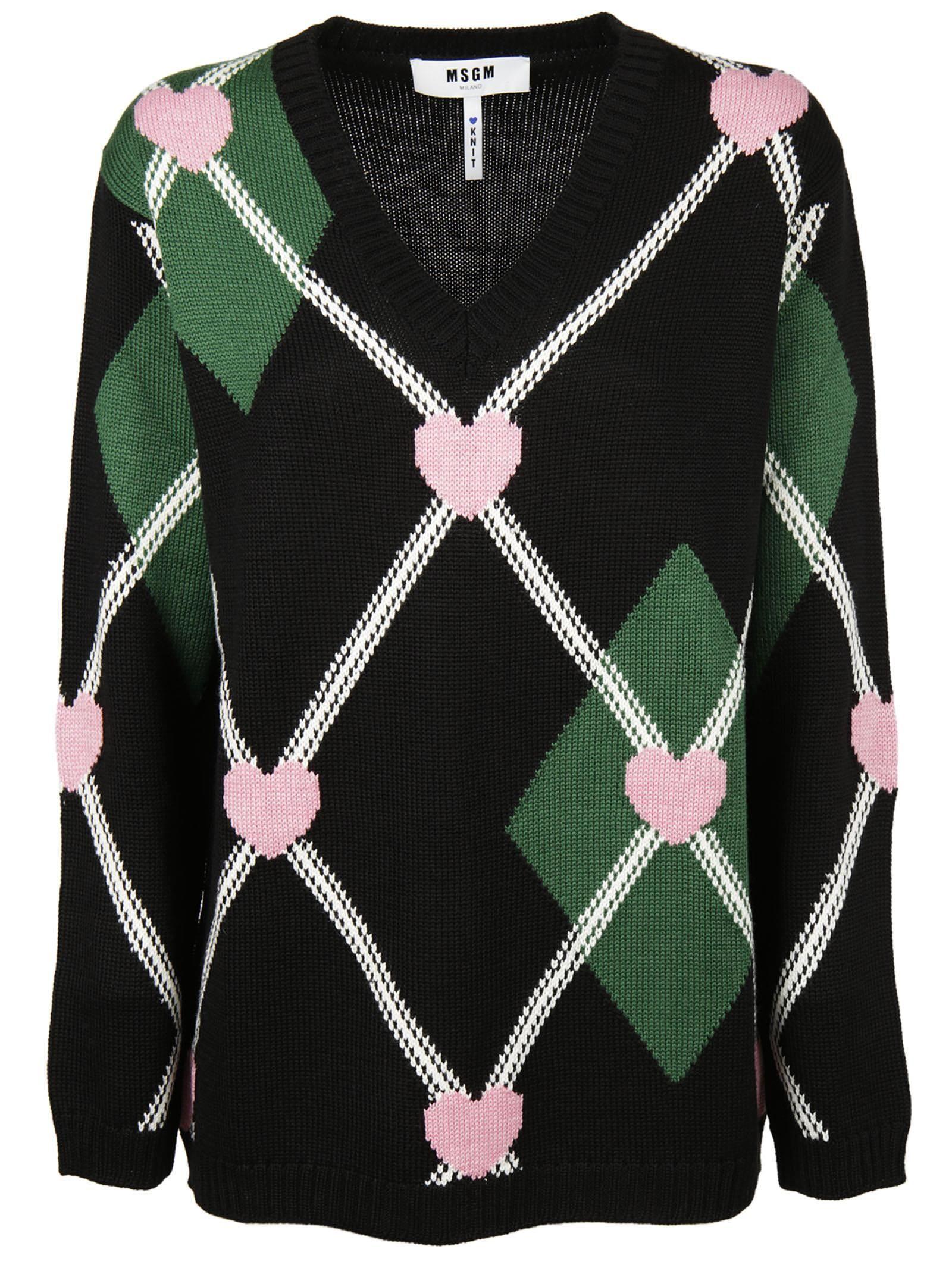 Msgm Heart Intarsia Sweater