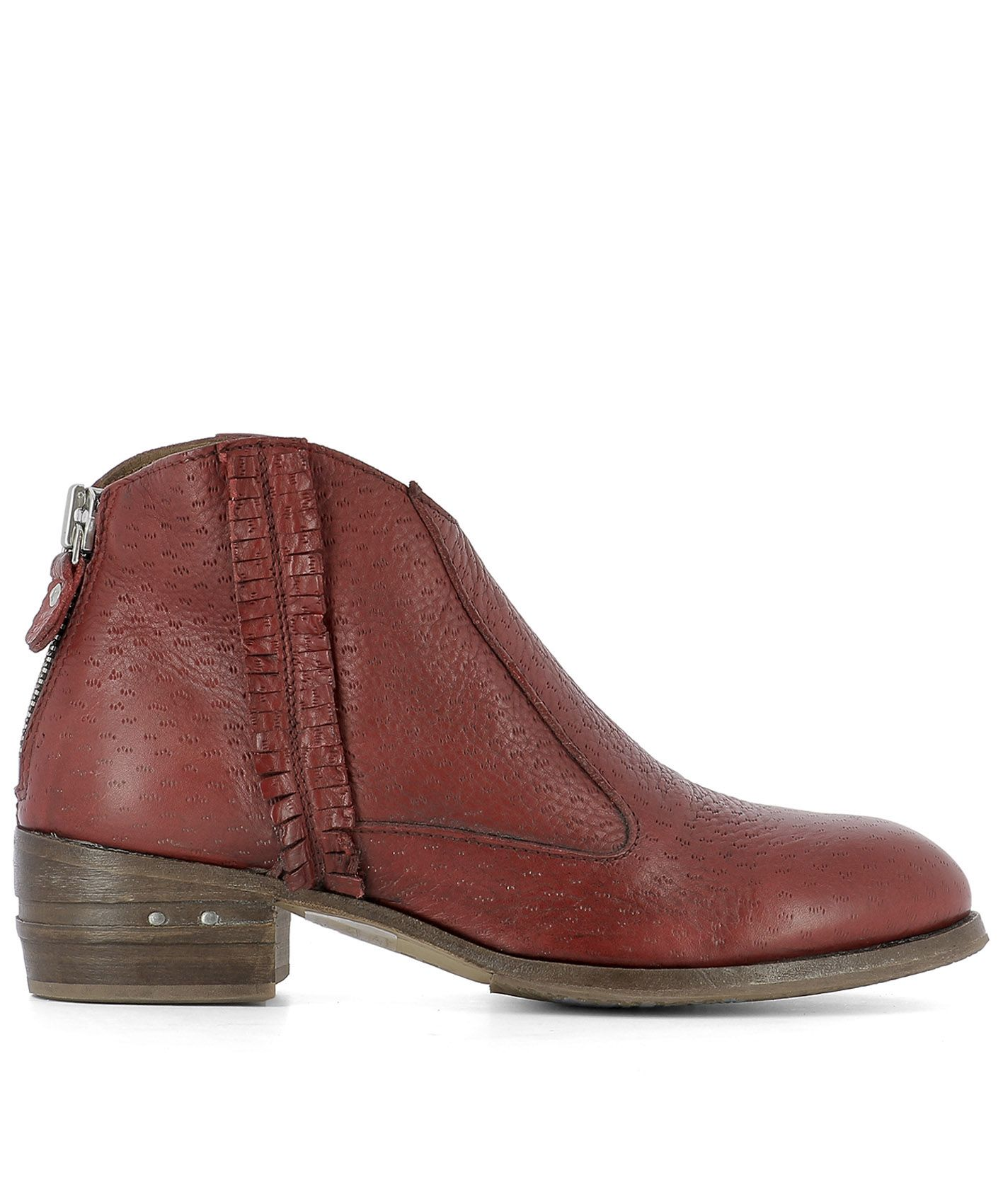 Red Leather Ankle Boots