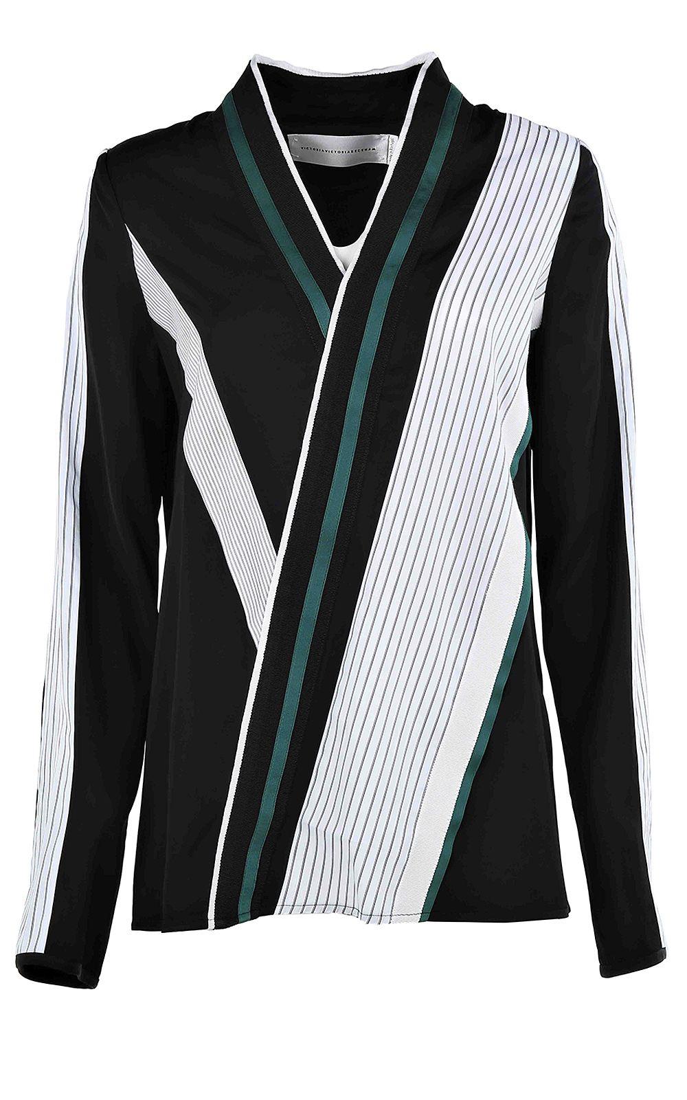 Victoria Victoria Beckham Grosgrain-trim Striped Satin Shirt