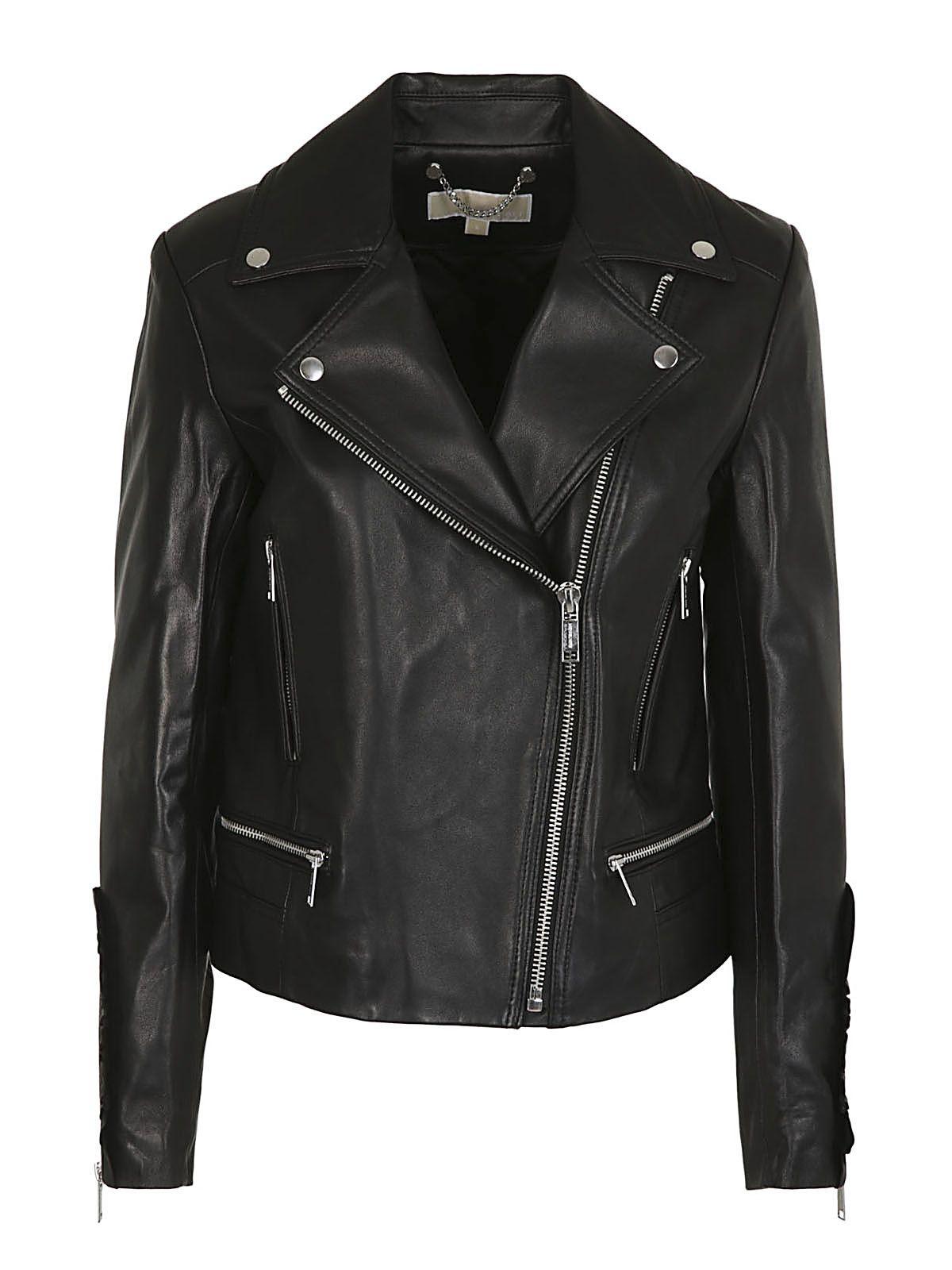 Michael Kors Frill-trimmed Biker Jacket