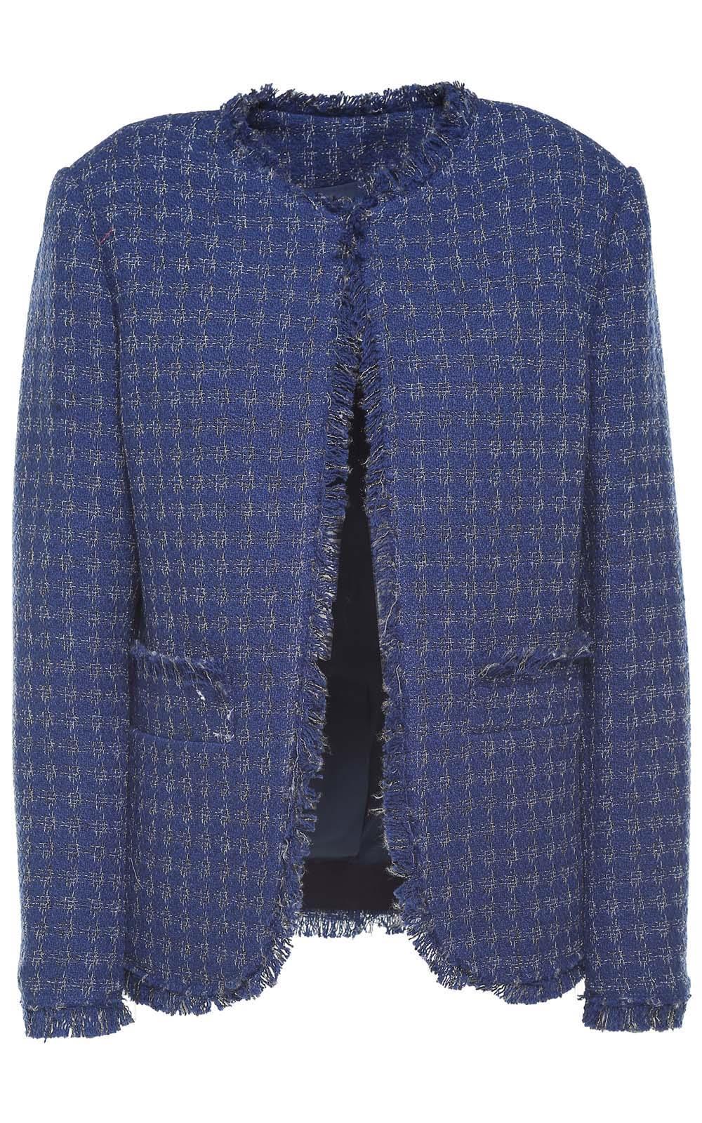 MSGM Fringed-trim Cotton-blend Tweed Jacket