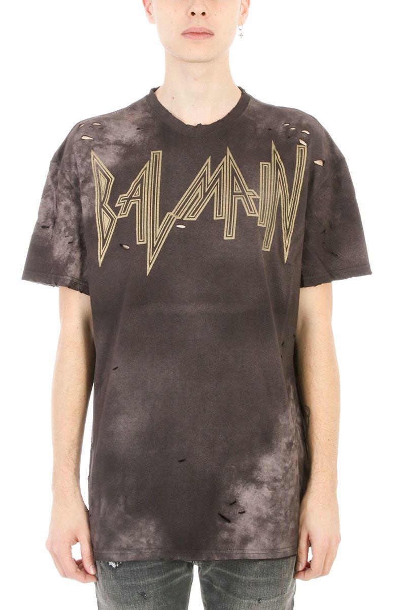 Balmain Gothic Logo Black Cotton T-shirt