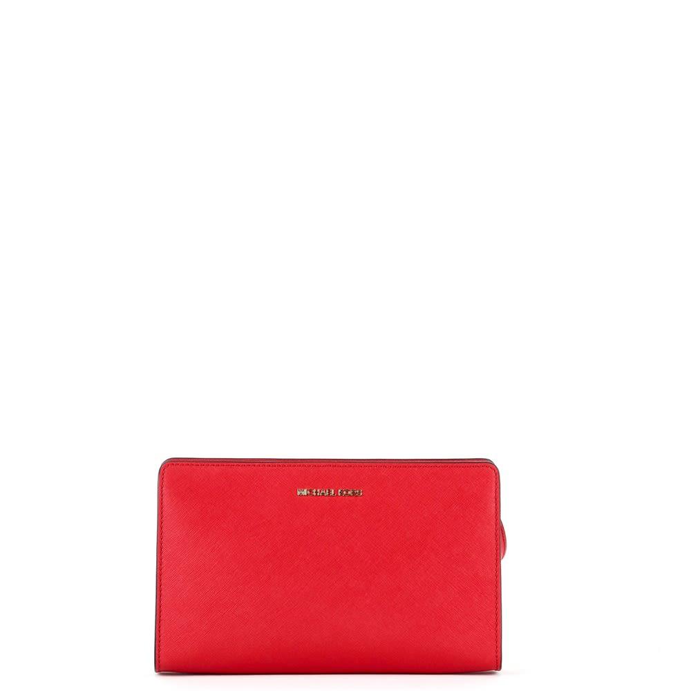 MICHAEL Michael Kors Large Jet Set Travel Bag In Red Saffron Leather