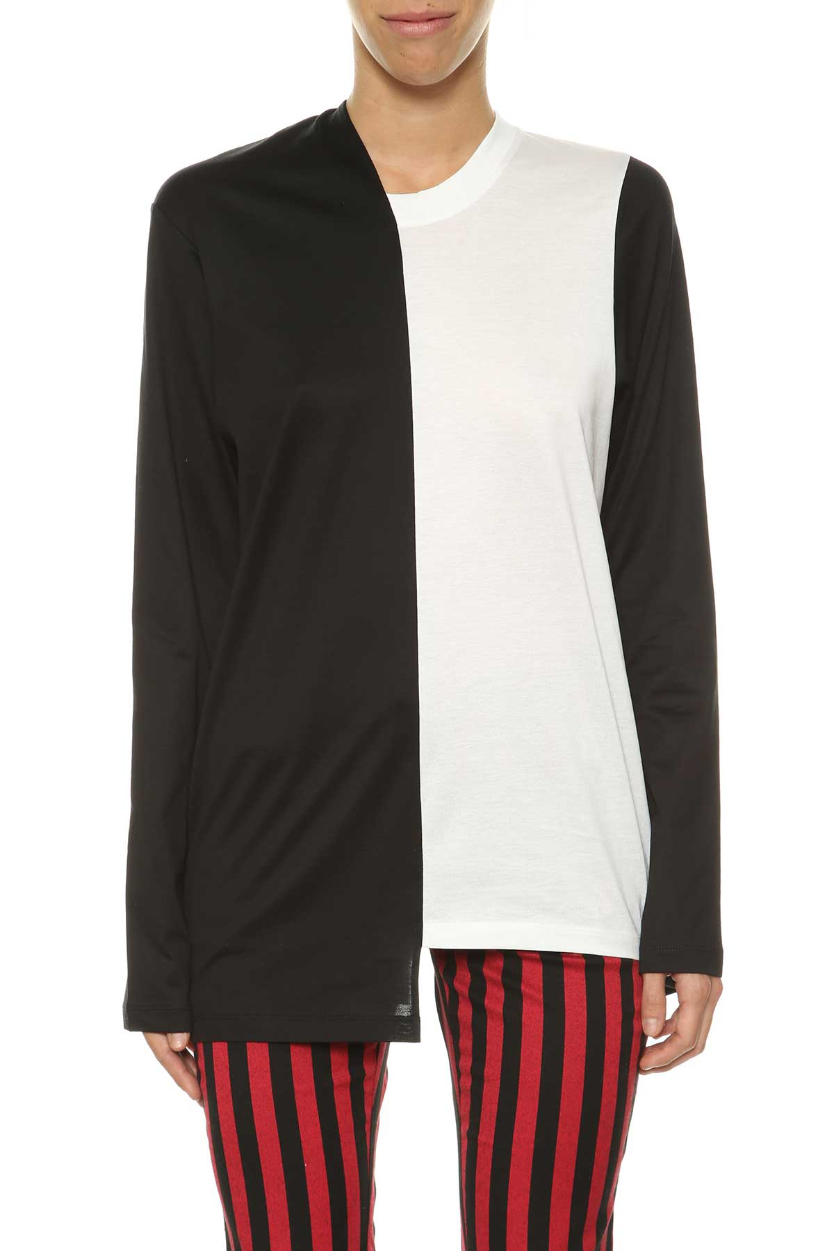 Marques Almeida Jersey Bell Sleeve Top With Mismatched Collar
