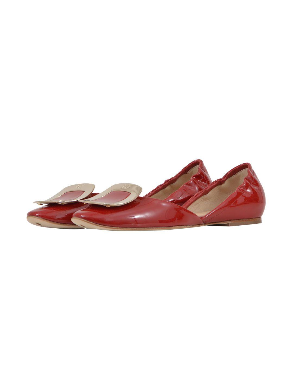 Roger Vivier - Roger Vivier Red Chips Ballet Flats