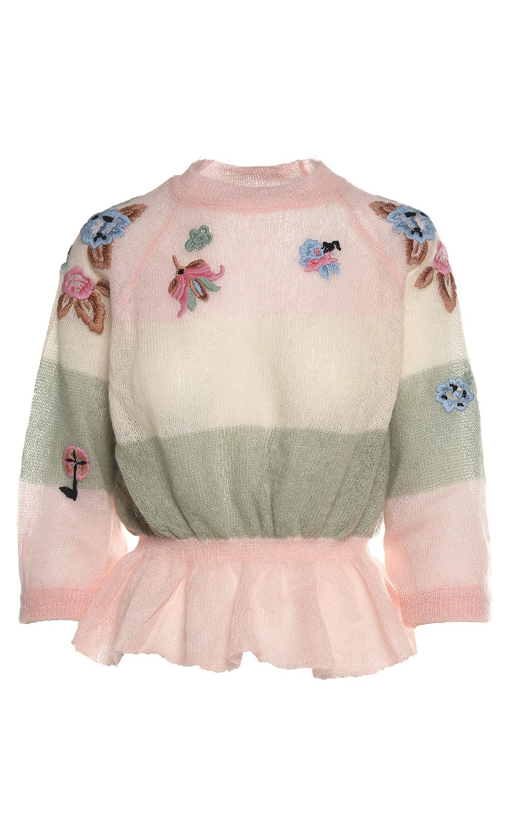 RED Valentino Ruffled Floral-embroidery Mohair-blend Sweater