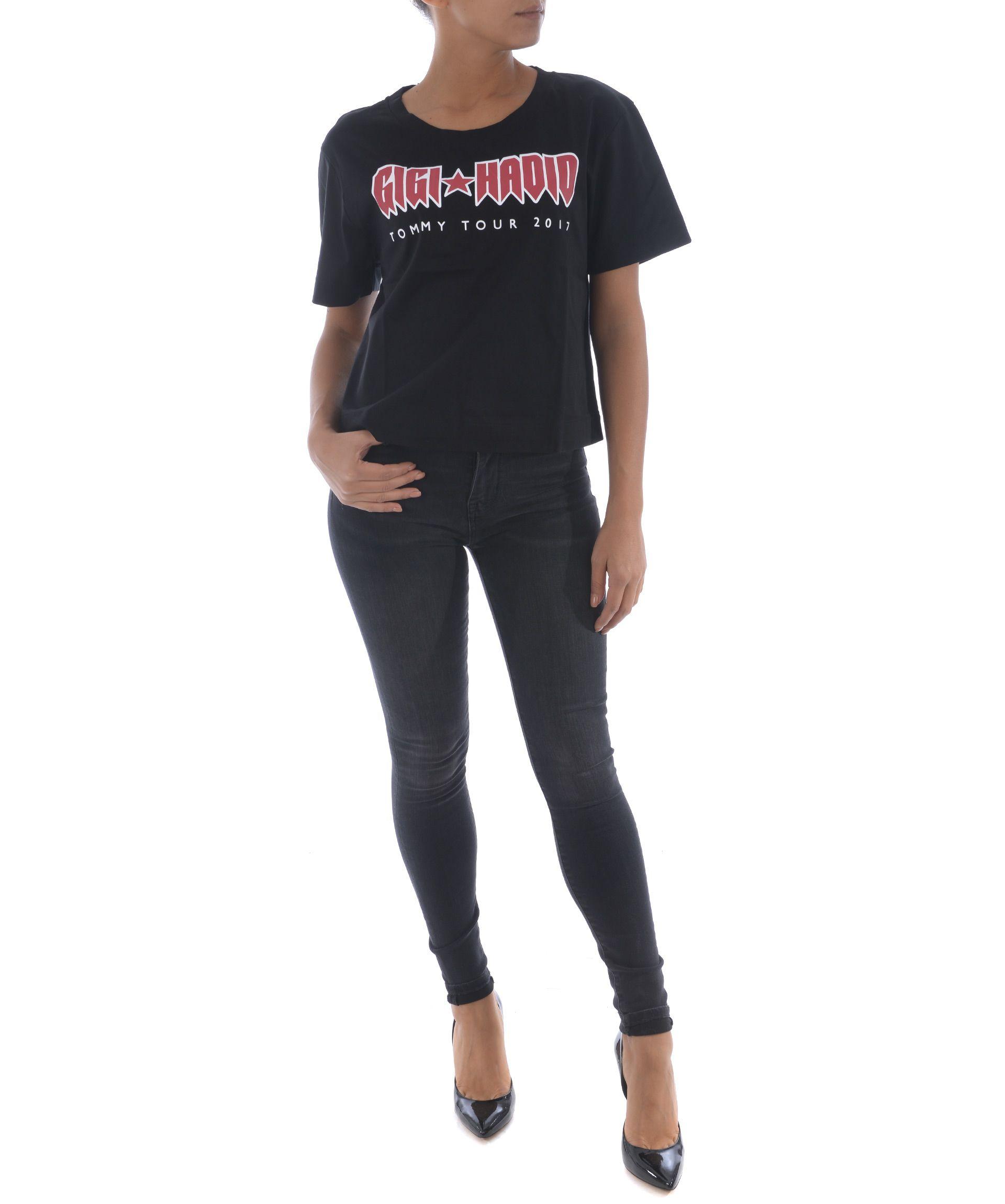 Tommy X Gigi Hadid Printed Short T-Shirt, Denim Nero