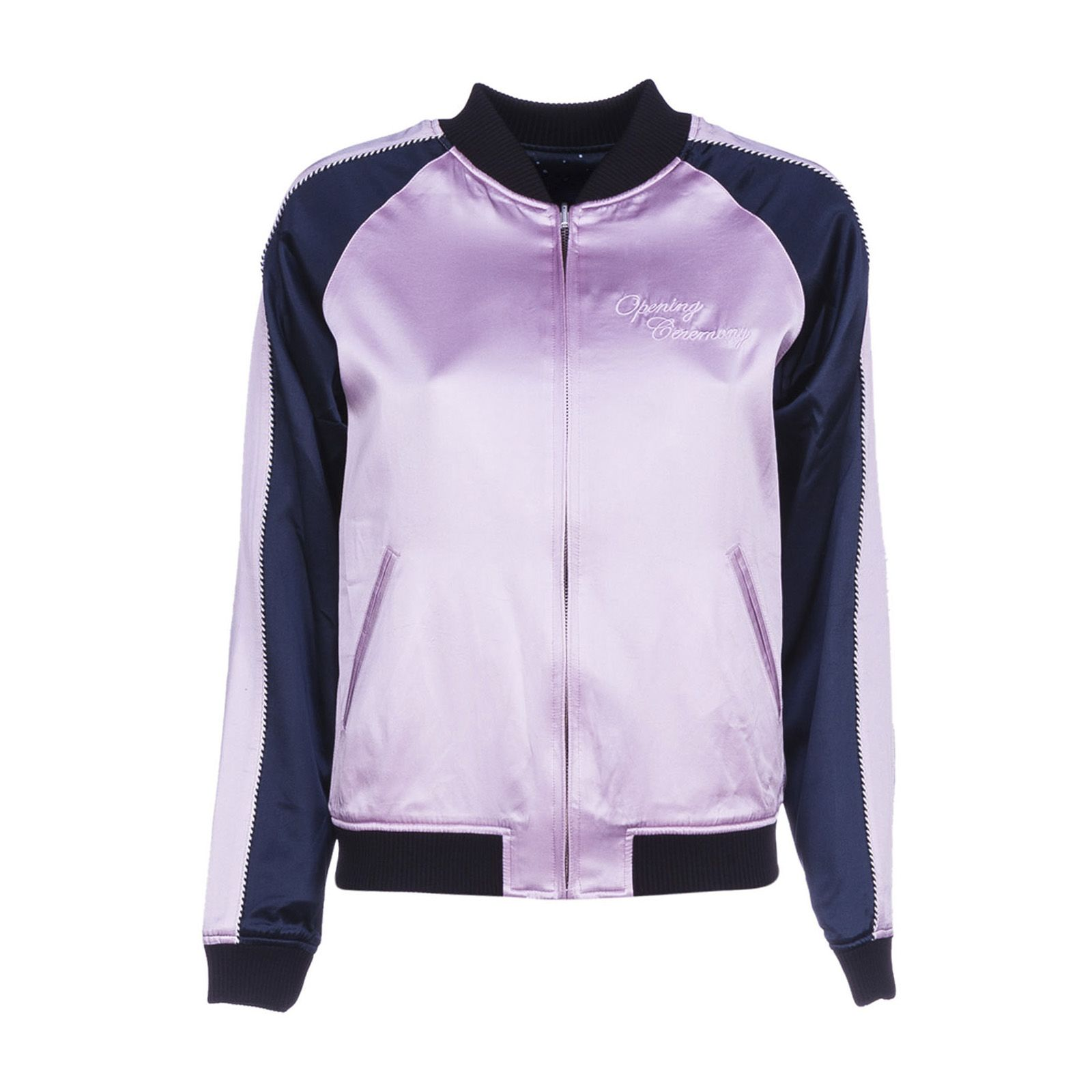 OPENING CEREMONY Woman Reversible Two-Tone Embroidered Silk-Satin Bomber Jacket Pink, Black