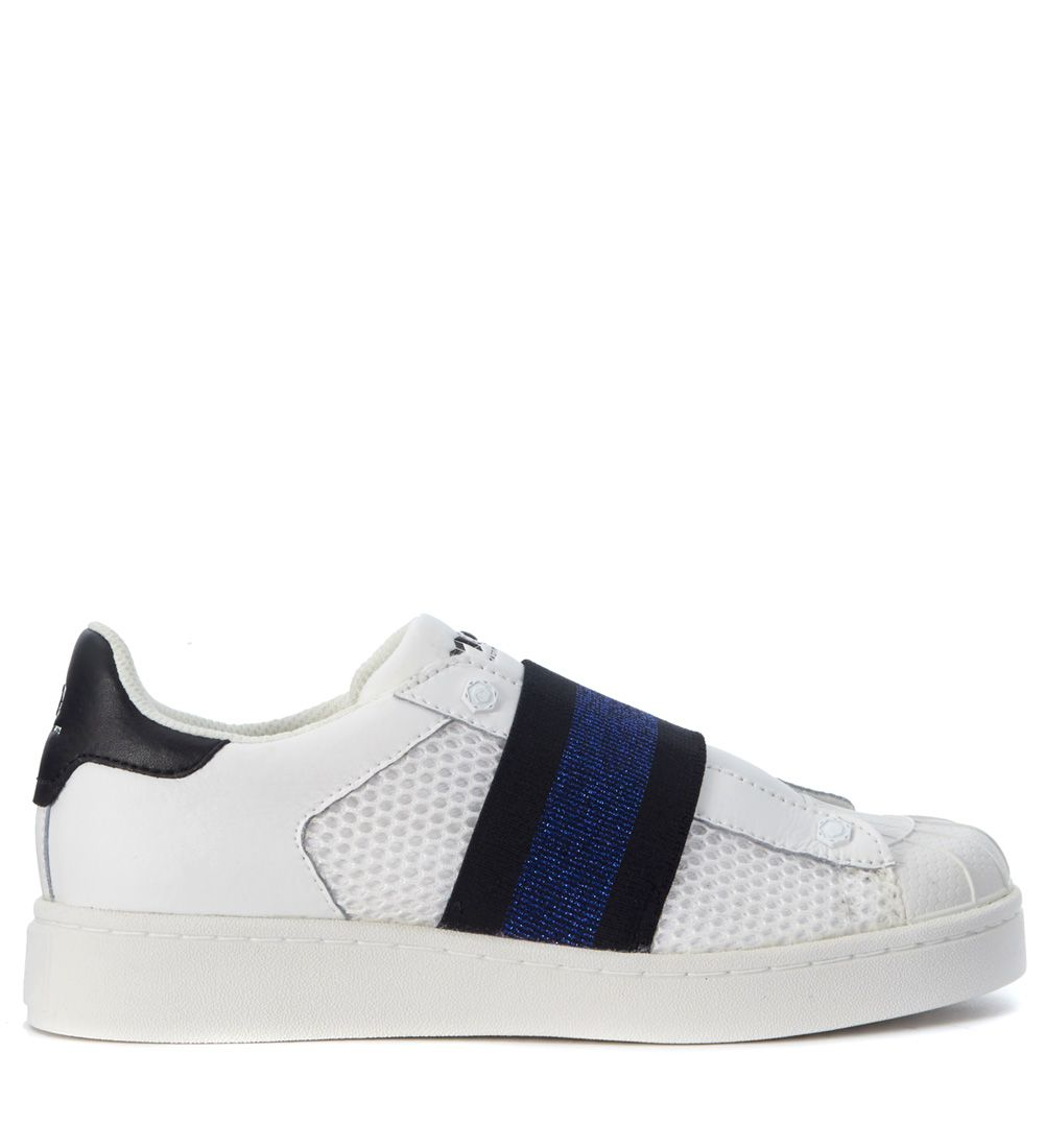 Moa Slip On In White Leather With Blue Elastic Strap