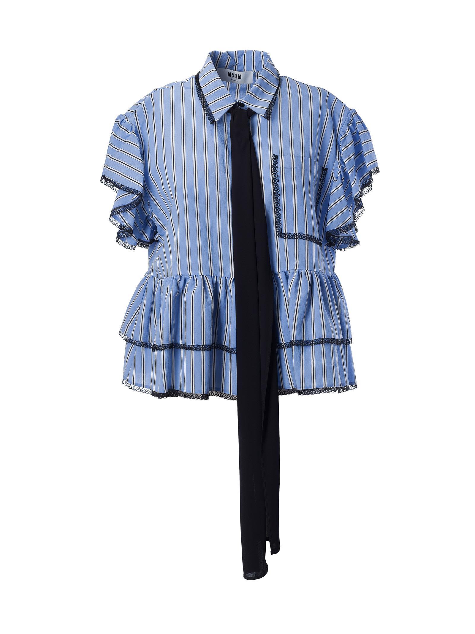 Msgm Ruffle Sleeve Shirt