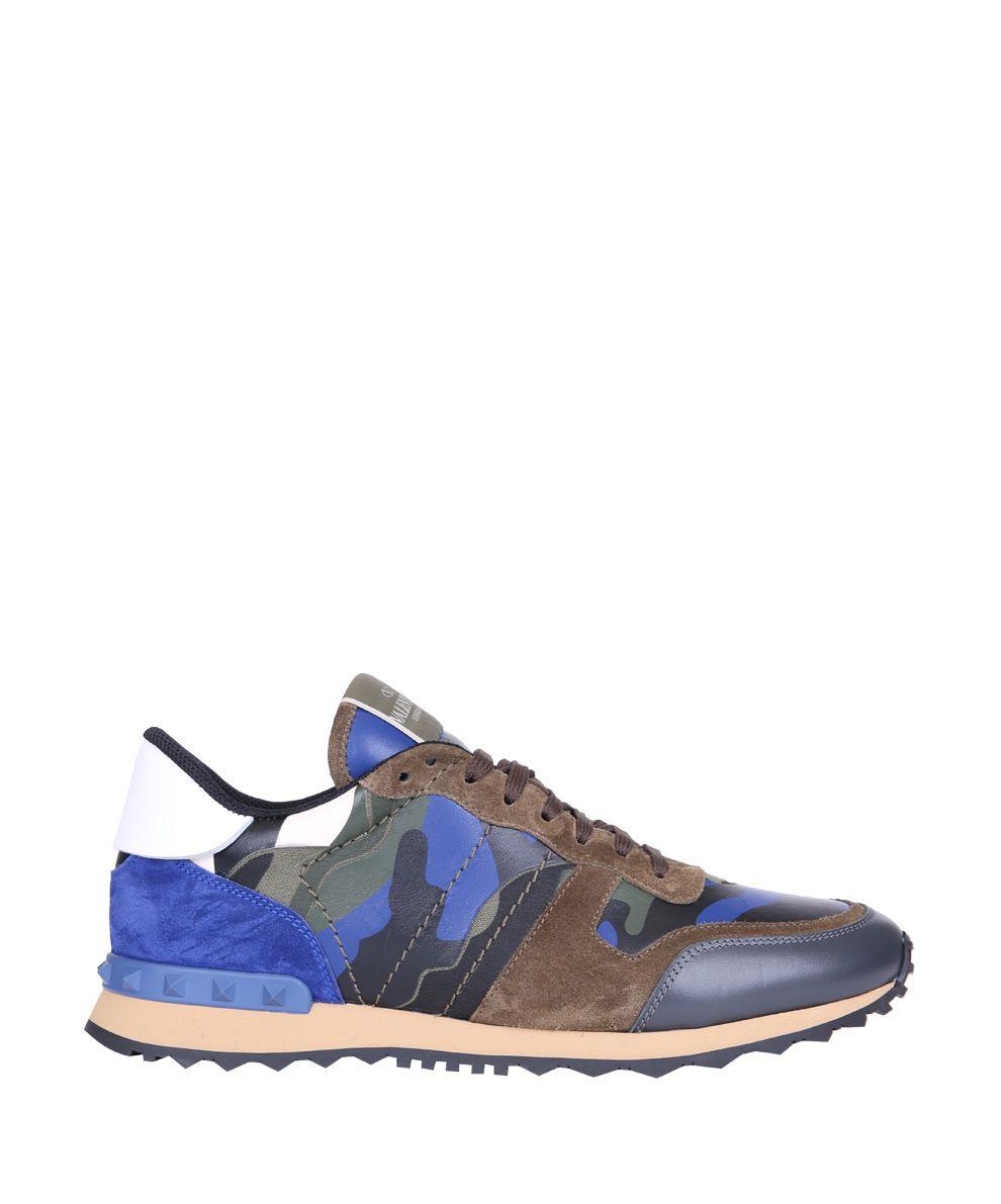 valentino garavani valentino garavani rockrunner camouflage sneakers blu men 39 s sneakers. Black Bedroom Furniture Sets. Home Design Ideas