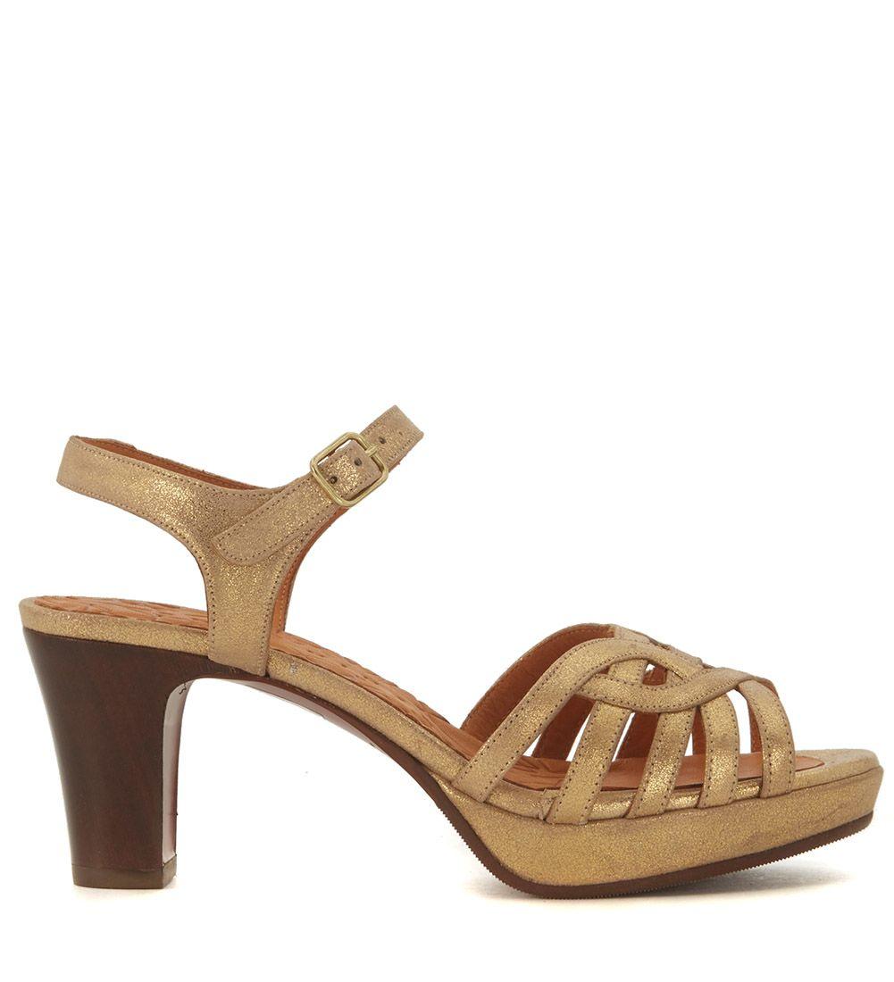 Chie Mihara Inga Golden Leather Heeled Sandal