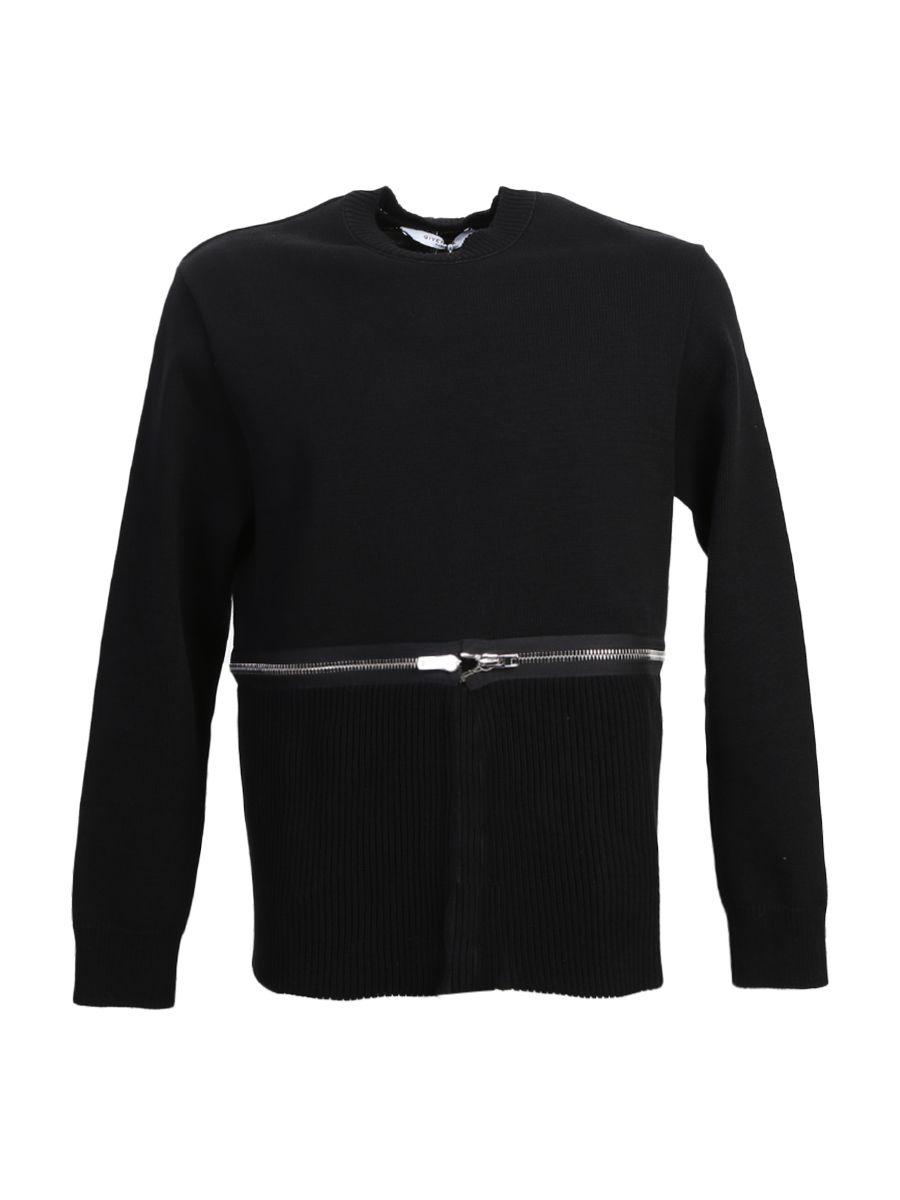 Black Cotton Crewneck Sweater With Zip